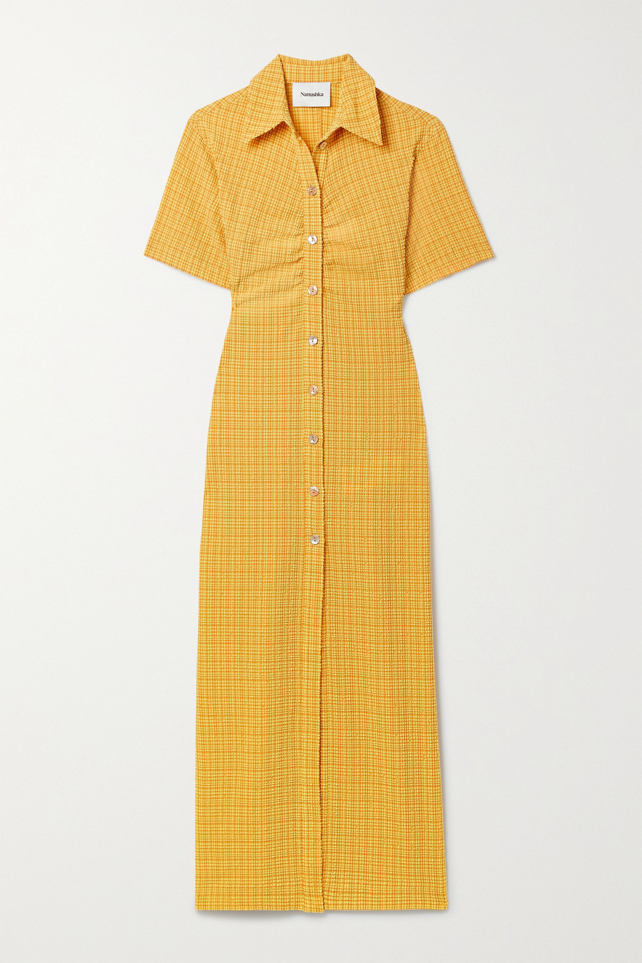 NANUSHKA + NET SUSTAIN Sabri ruched checked seersucker shirt dress