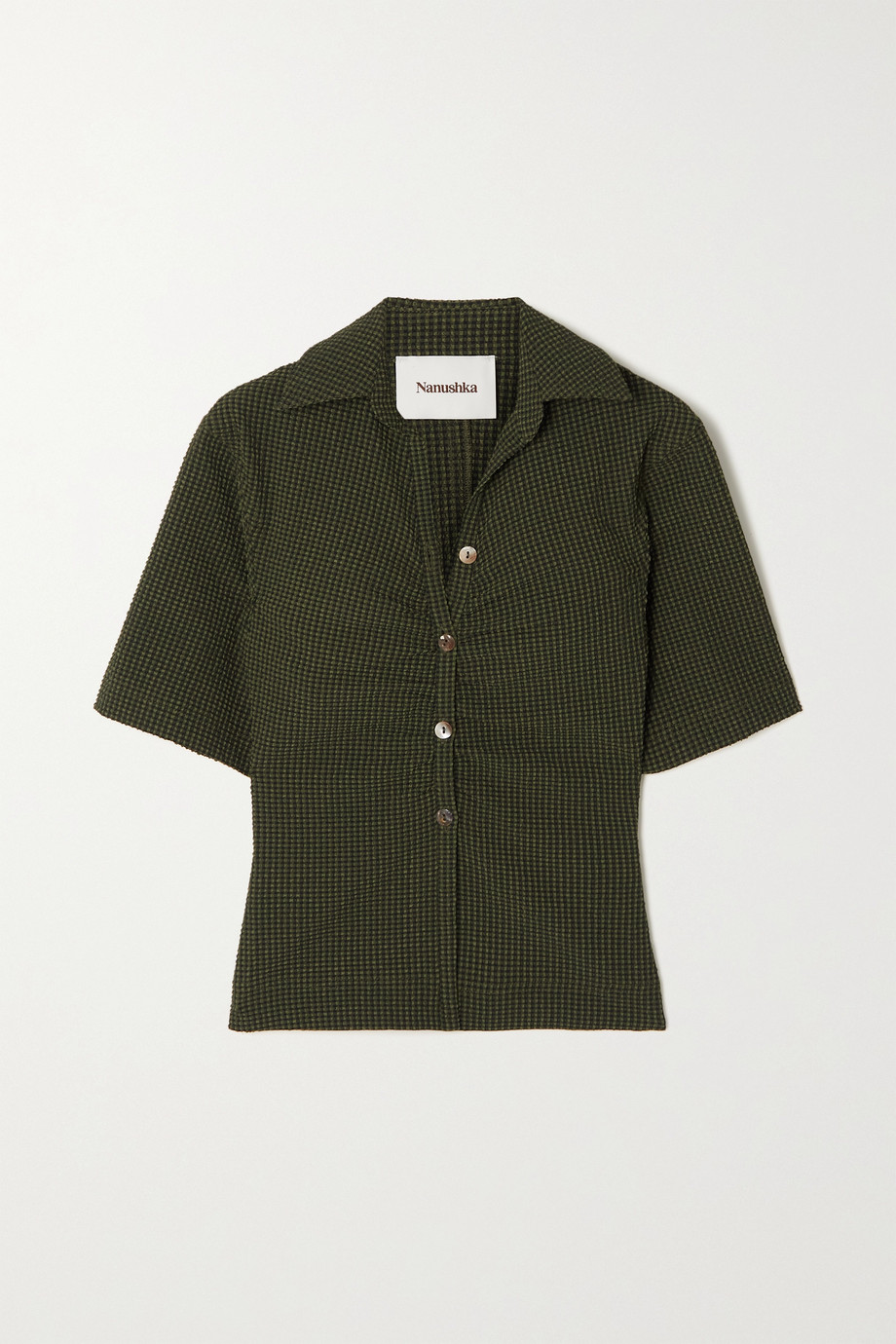 NANUSHKA + NET SUSTAIN Saff checked stretch-seersucker shirt