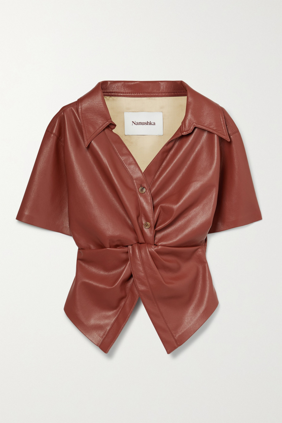 NANUSHKA + NET SUSTAIN Thora twist-front vegan leather shirt
