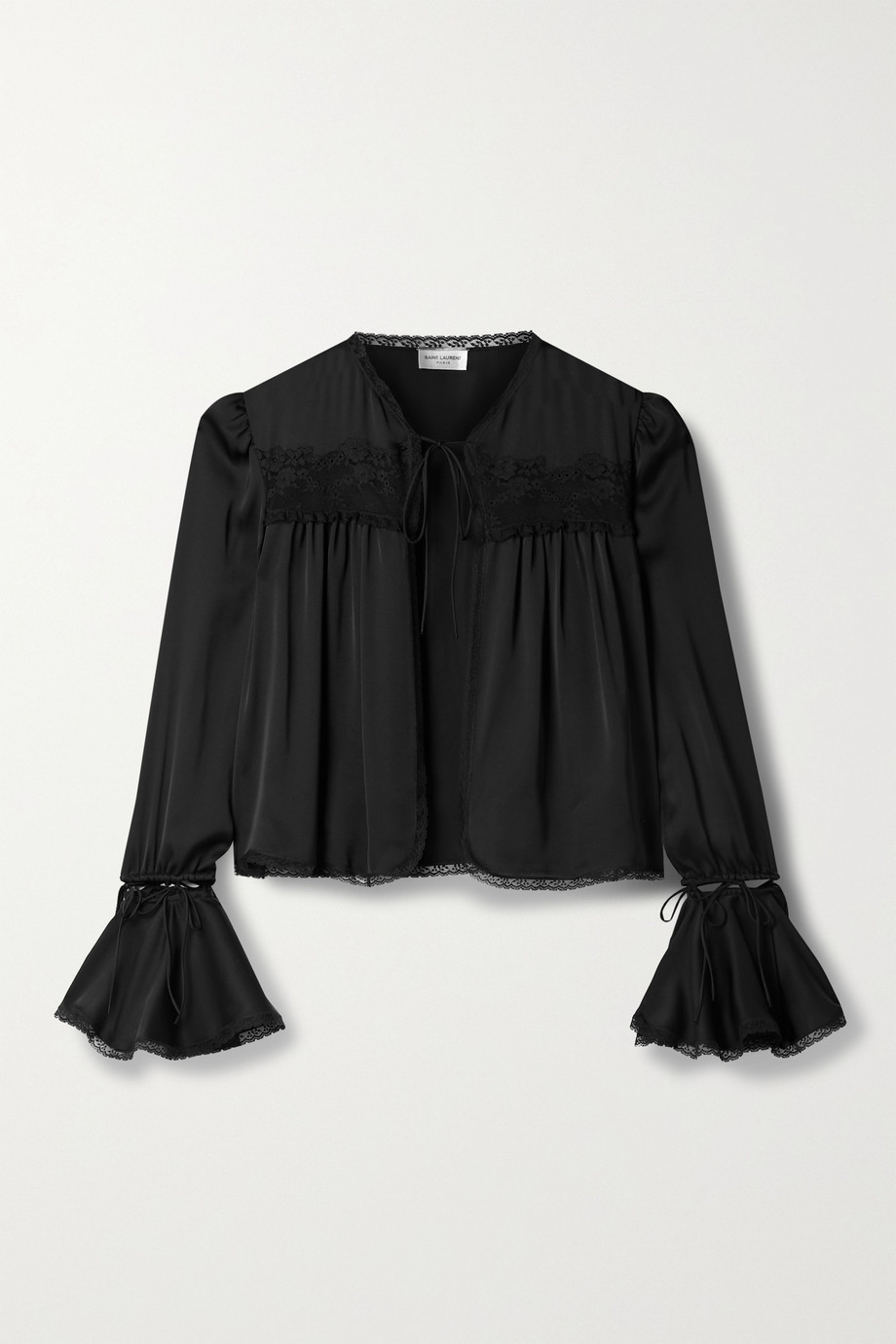 SAINT LAURENT Convertible lace-trimmed silk blouse