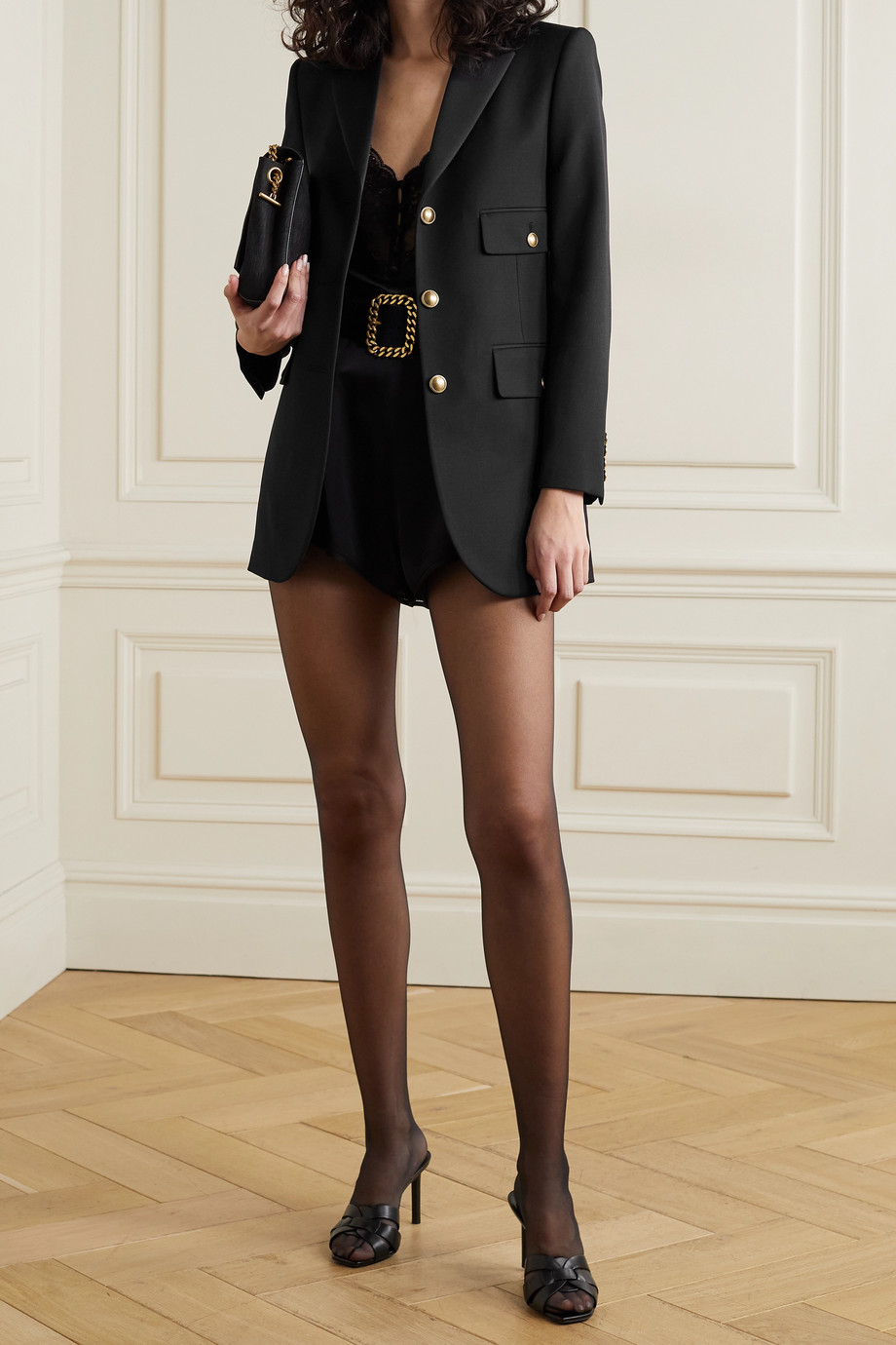 SAINT LAURENT Satin-trimmed grain de poudre wool blazer