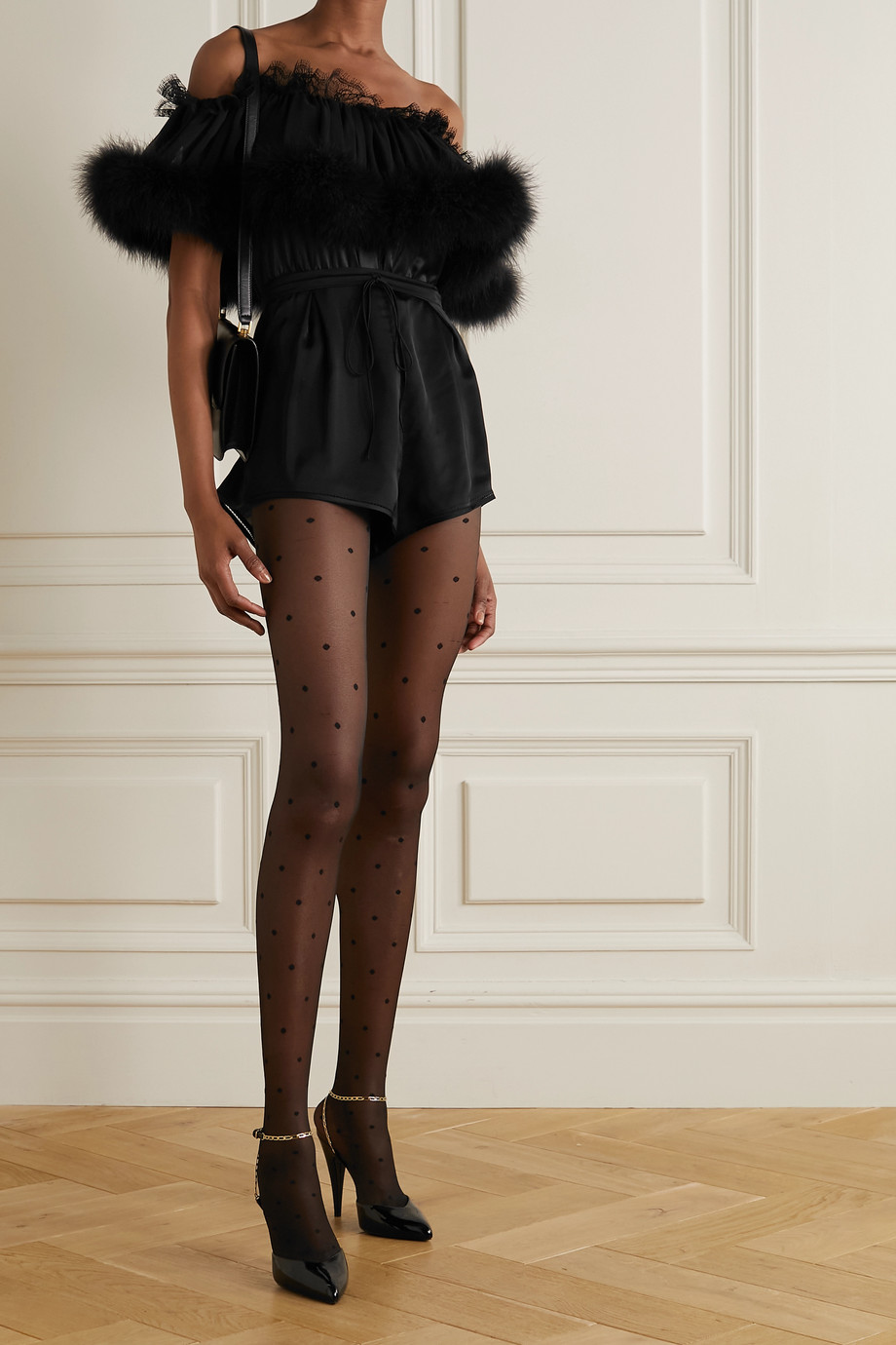 SAINT LAURENT Feather and lace-trimmed silk-satin and chiffon bodysuit