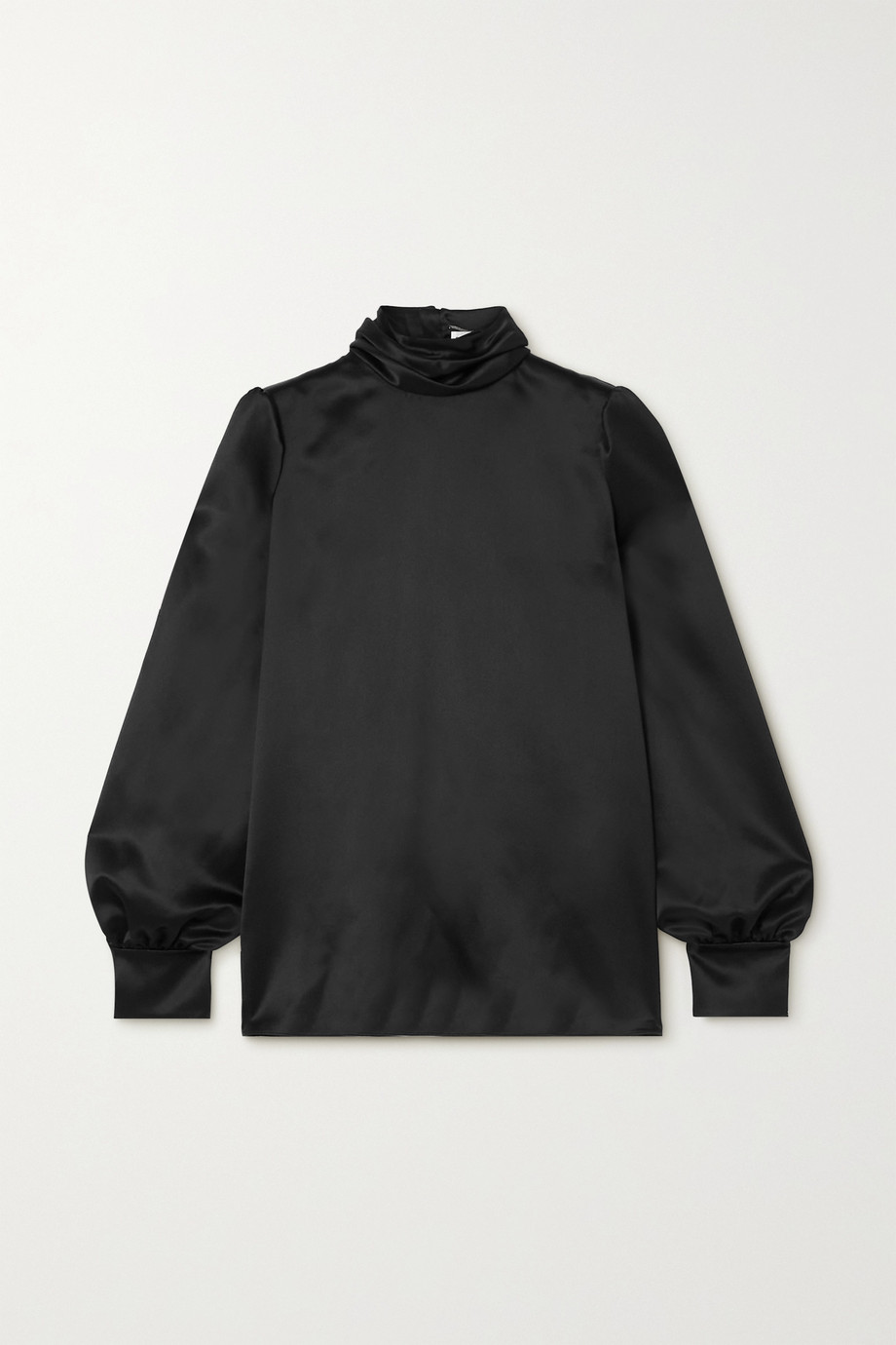 SAINT LAURENT Silk-satin turtleneck blouse