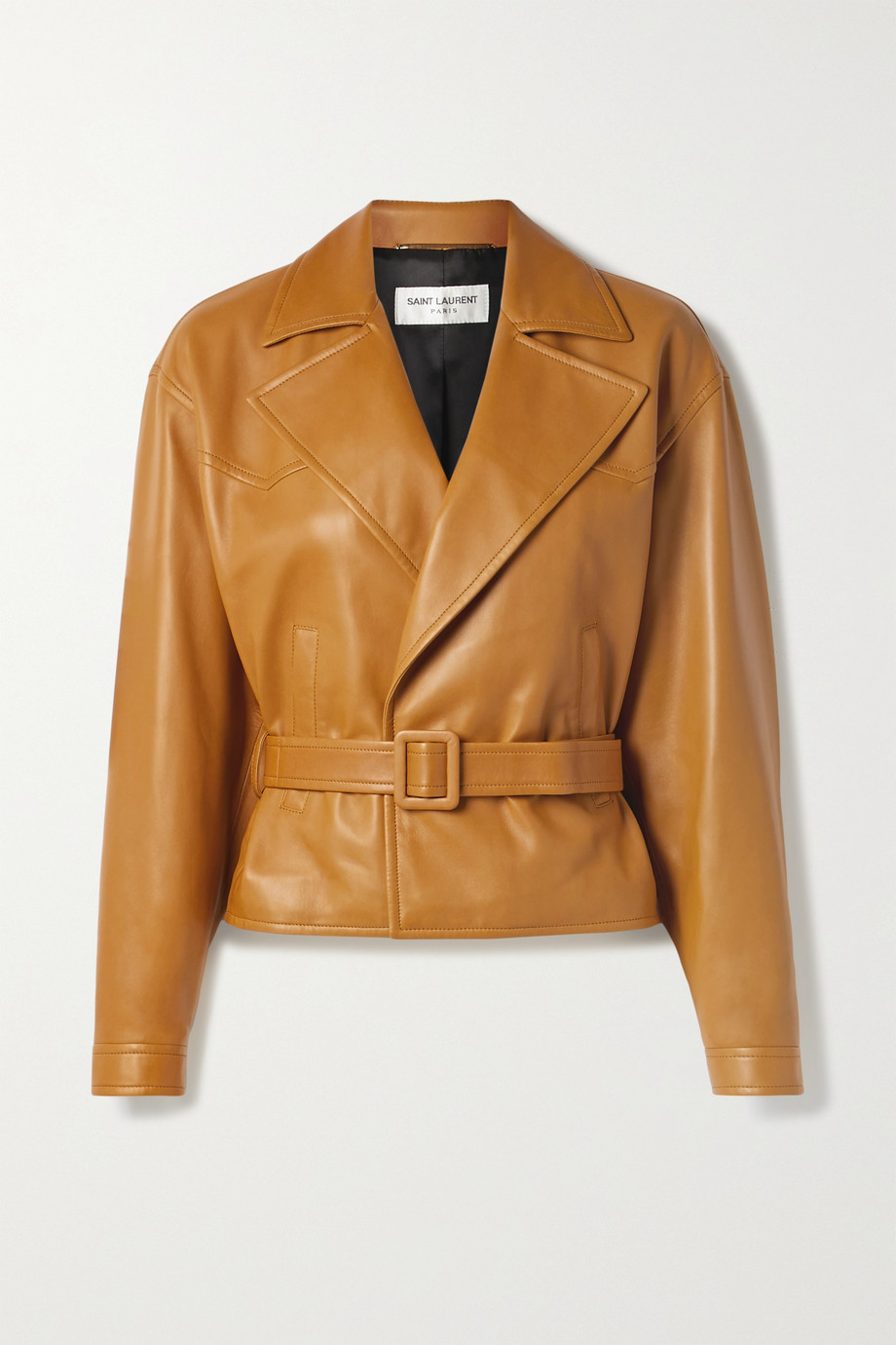 SAINT LAURENT Belted leather biker jacket