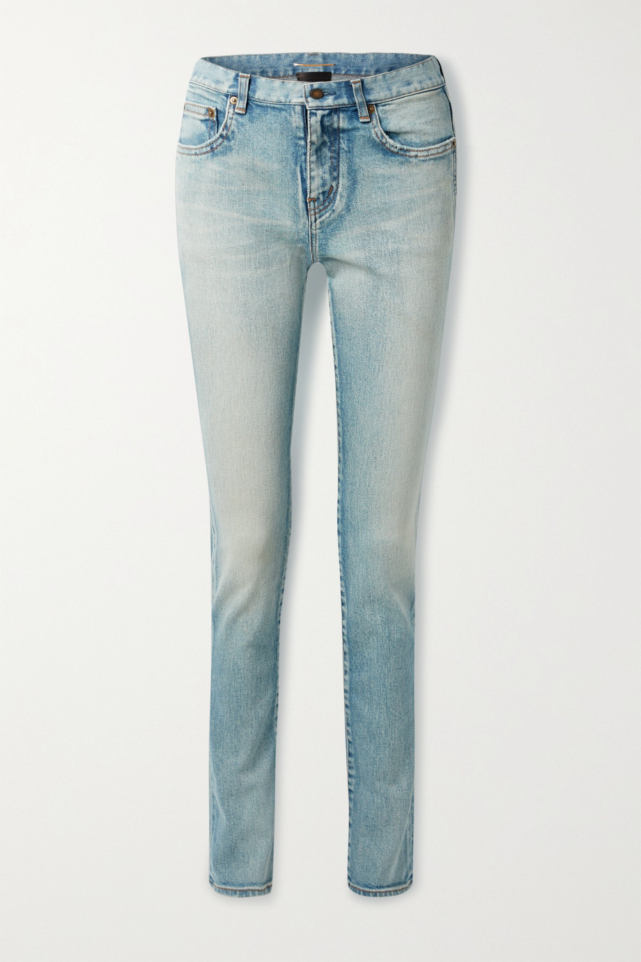 SAINT LAURENT Distressed low-rise slim-leg jeans