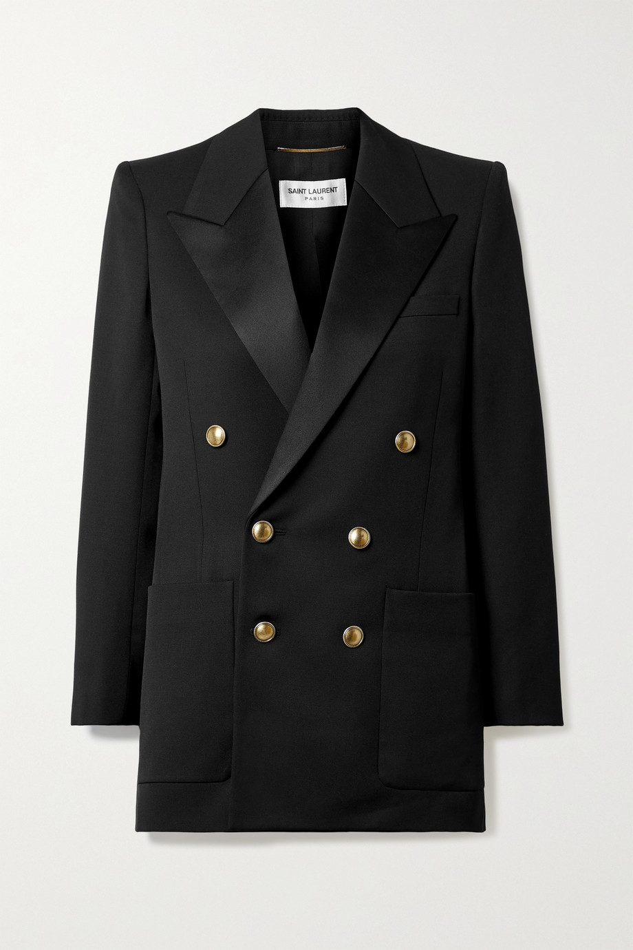 SAINT LAURENT Double-breasted satin and grain de poudre wool blazer