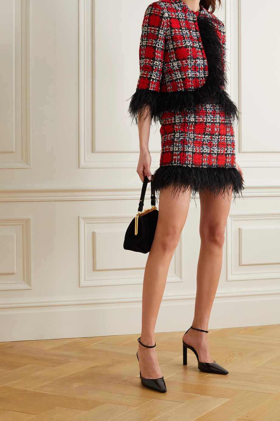 HALPERN Feather-trimmed checked tweed mini skirt