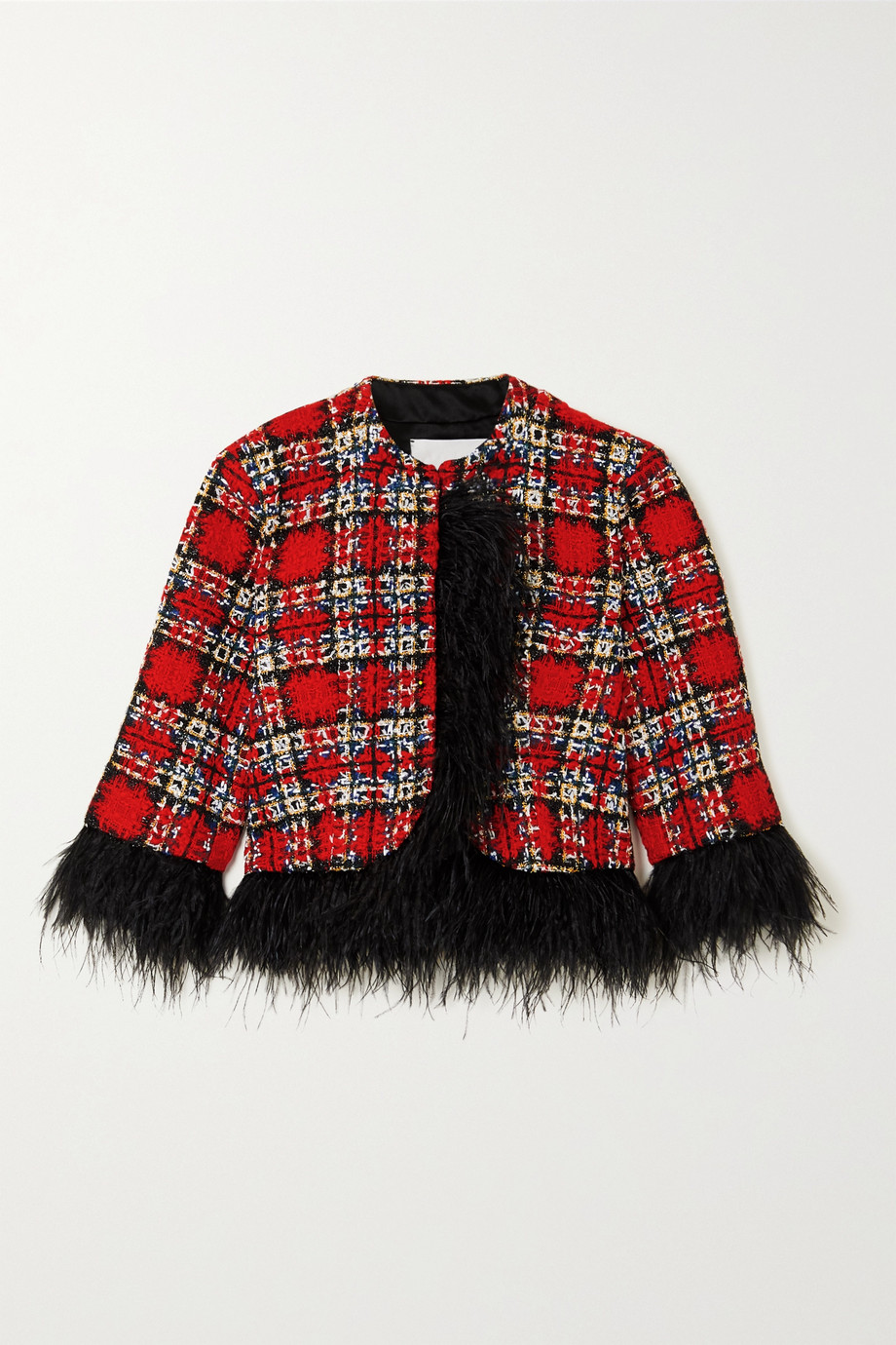 HALPERN Cropped feather-trimmed checked tweed jacket