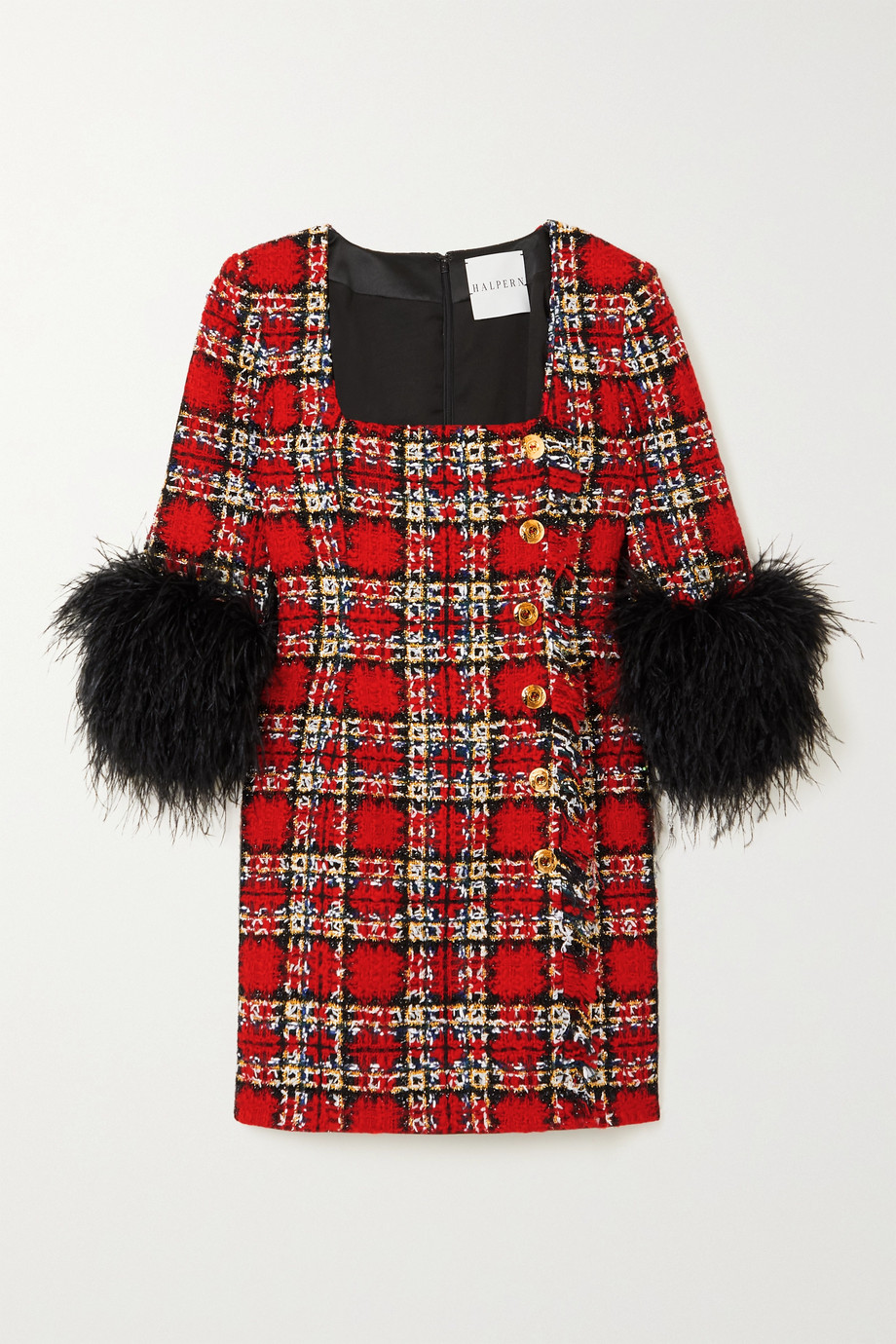 HALPERN Feather-trimmed embellished checked tweed mini dress