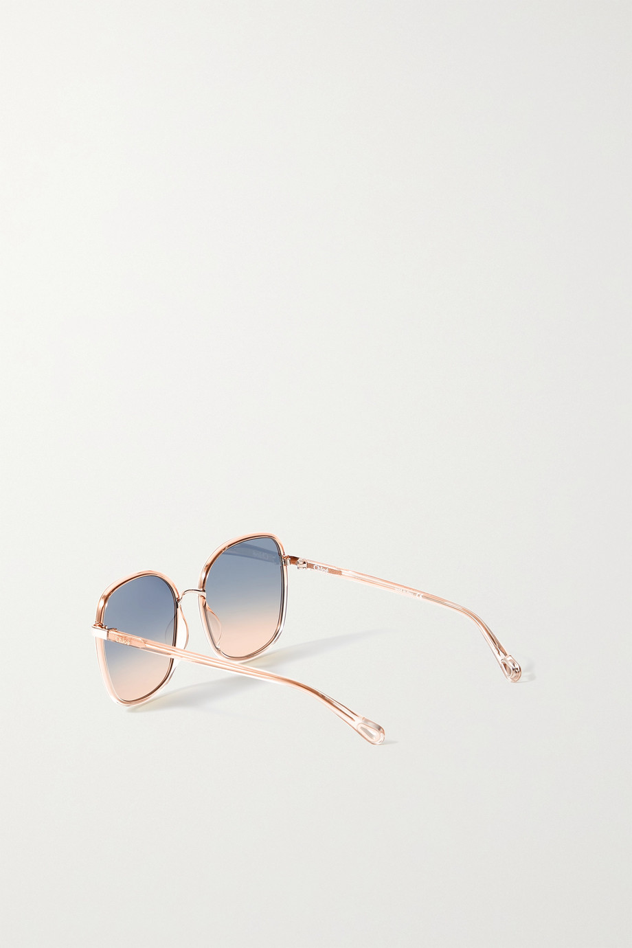 CHLOÉ Oversized square-frame acetate and gold-tone sunglasses