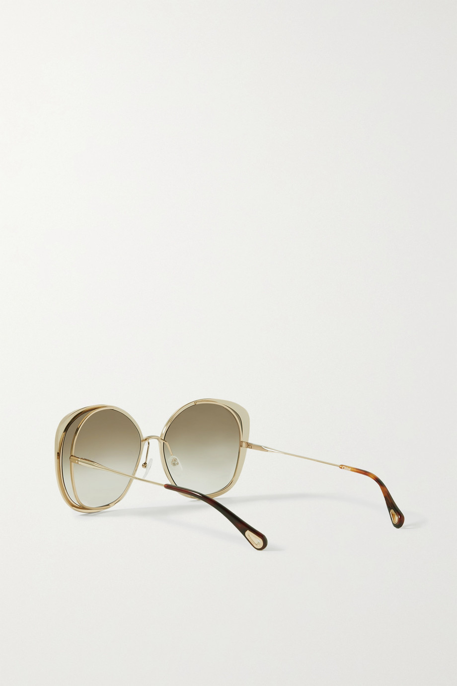 CHLOÉ Oversized round-frame acetate and gold-tone sunglasses