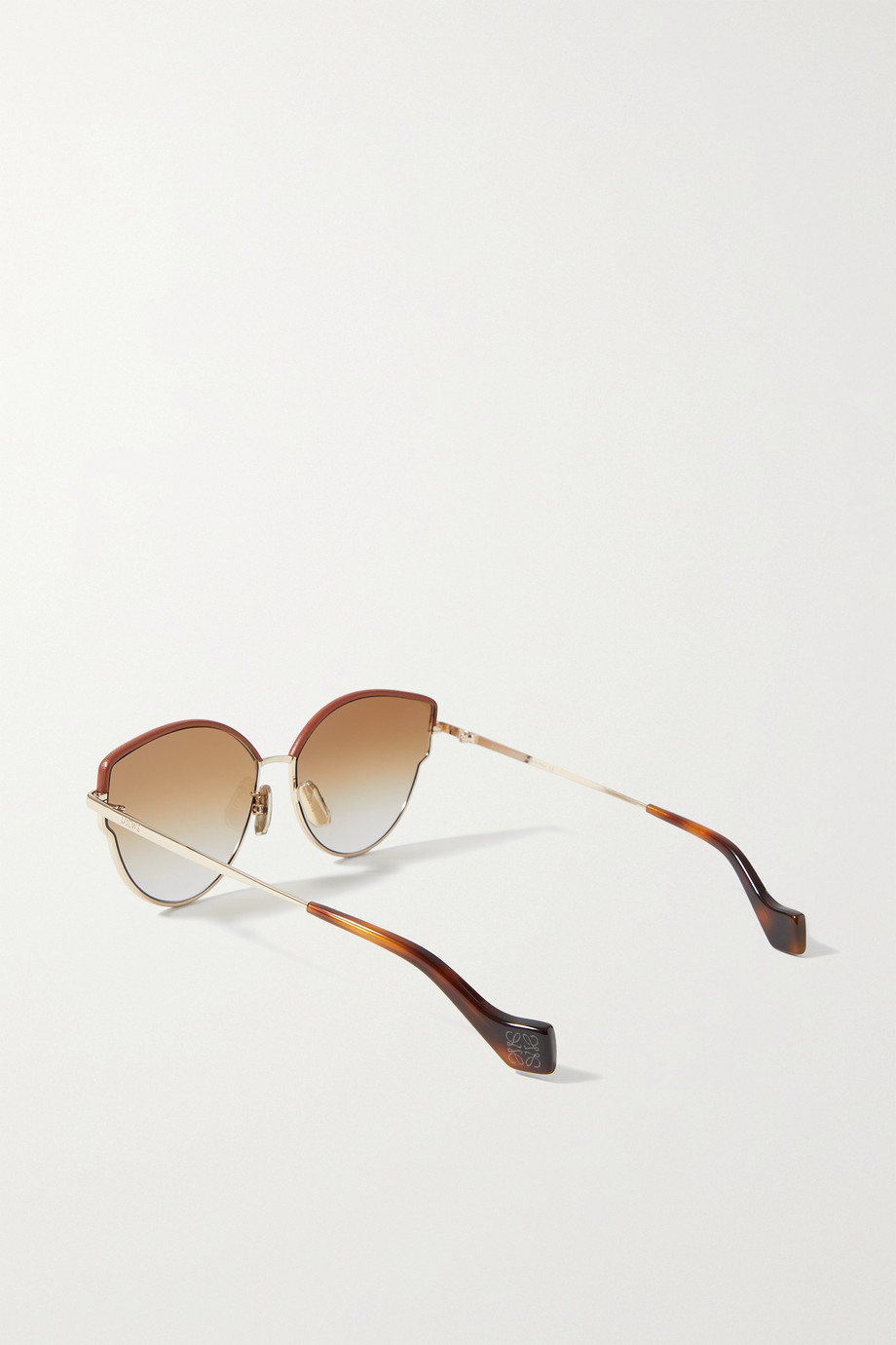 LOEWE Cat-eye leather-trimmed gold-tone and tortoiseshell acetate sunglasses