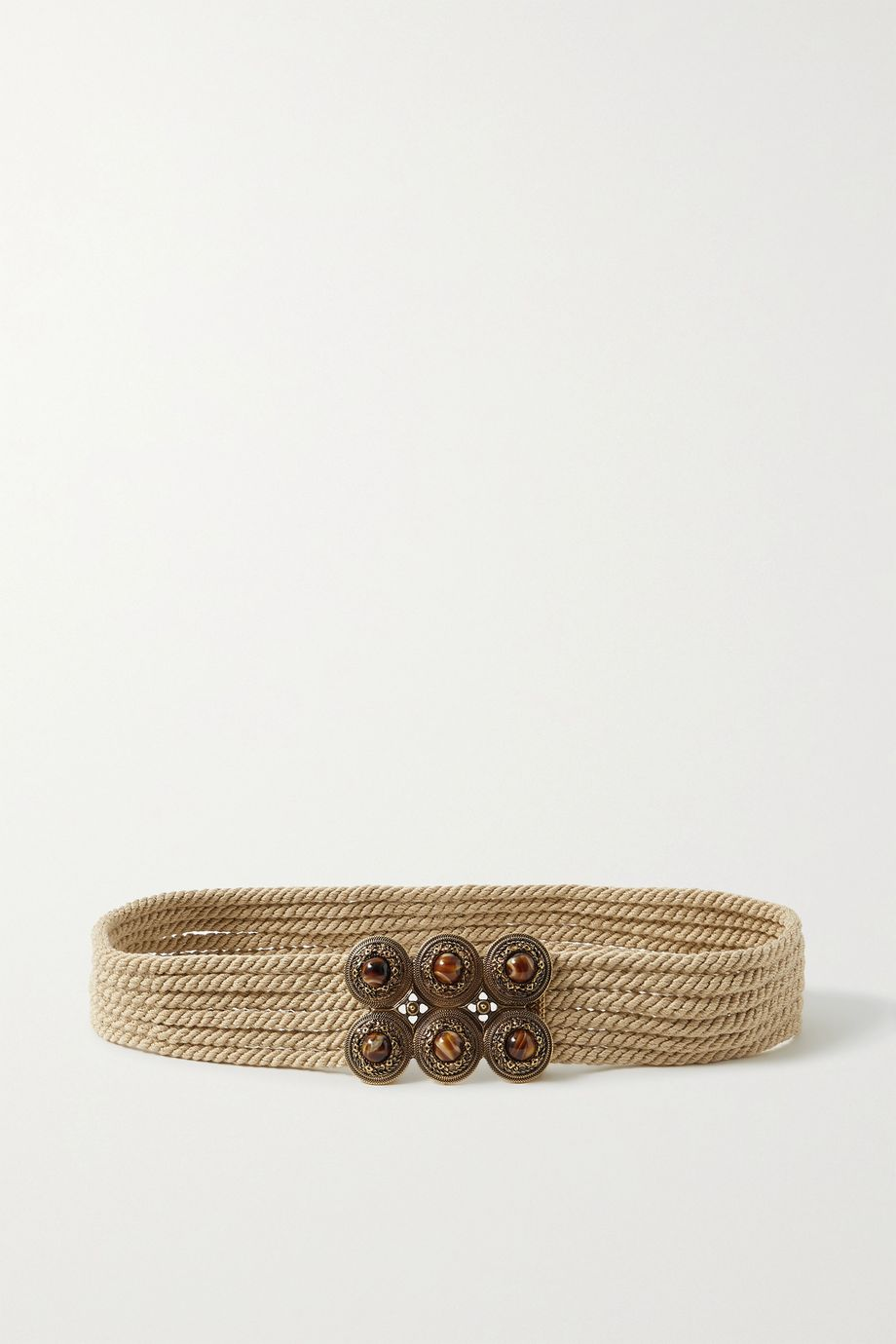 ETRO Embellished cotton rope waist belt