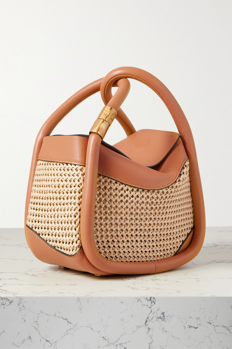 BOYY Wonton 20 leather and macrame raffia tote,Brown