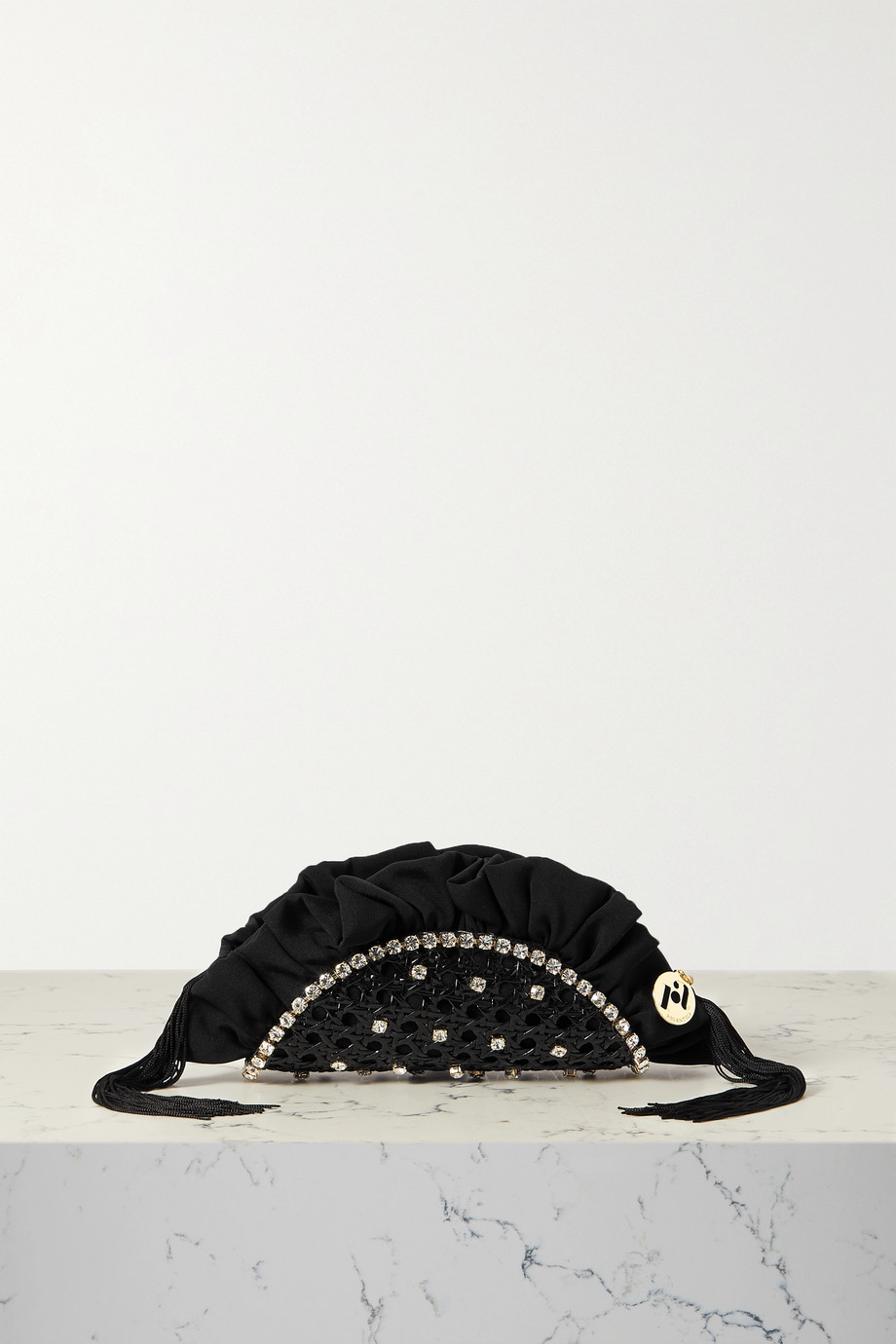ROSANTICA Taco small fringed crystal-embellished wicker and twill clutch