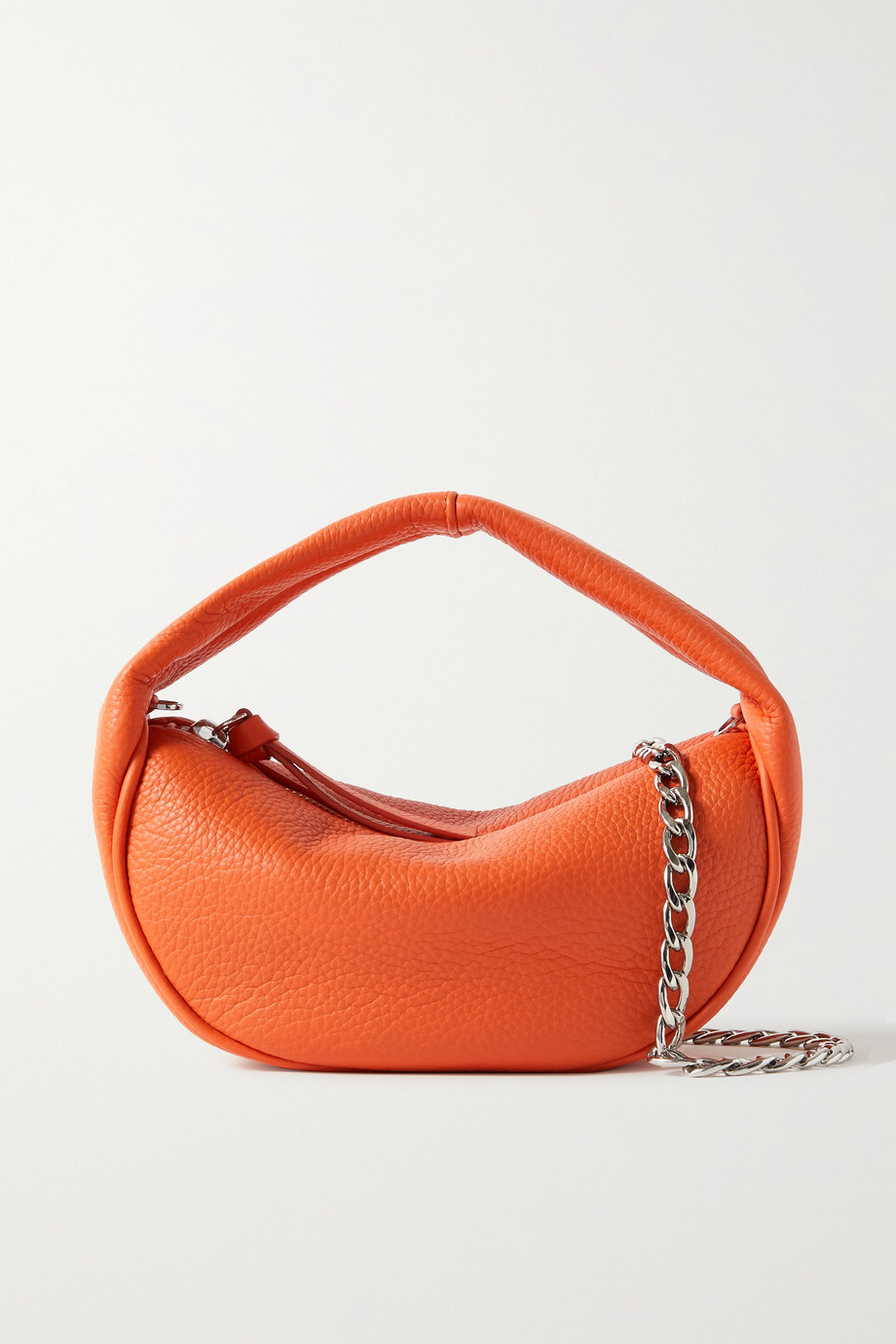 BY FAR Baby Cush chain-embellished textured-leather shoulder bag