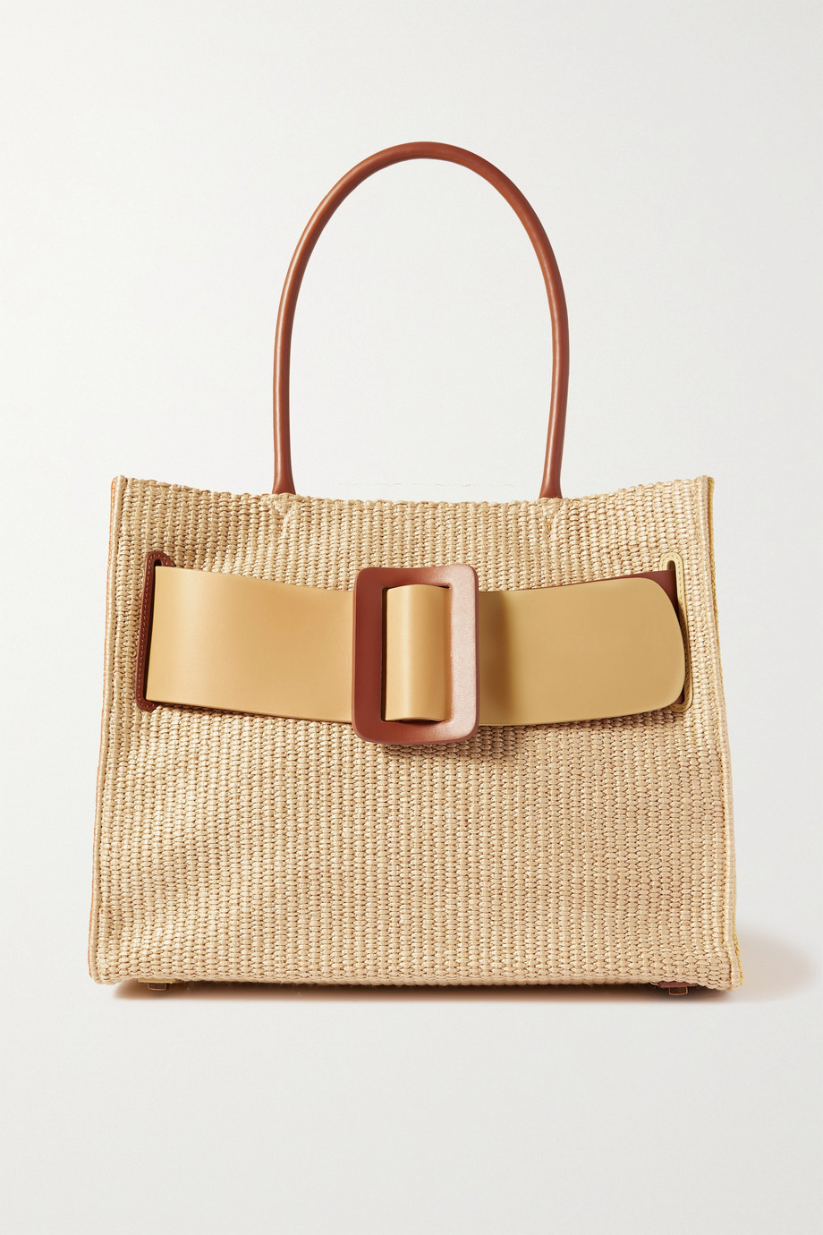 BOYY Bobby 36 buckled color-block leather-trimmed raffia tote,Beige