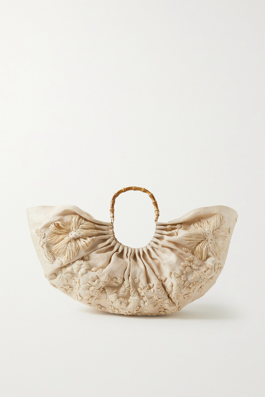 컬트 가이아 Cult Gaia Banu ruched embroidered raffia tote,Beige