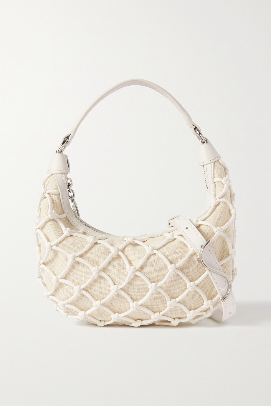 STAUD Luna mini macramé vegan leather and linen tote