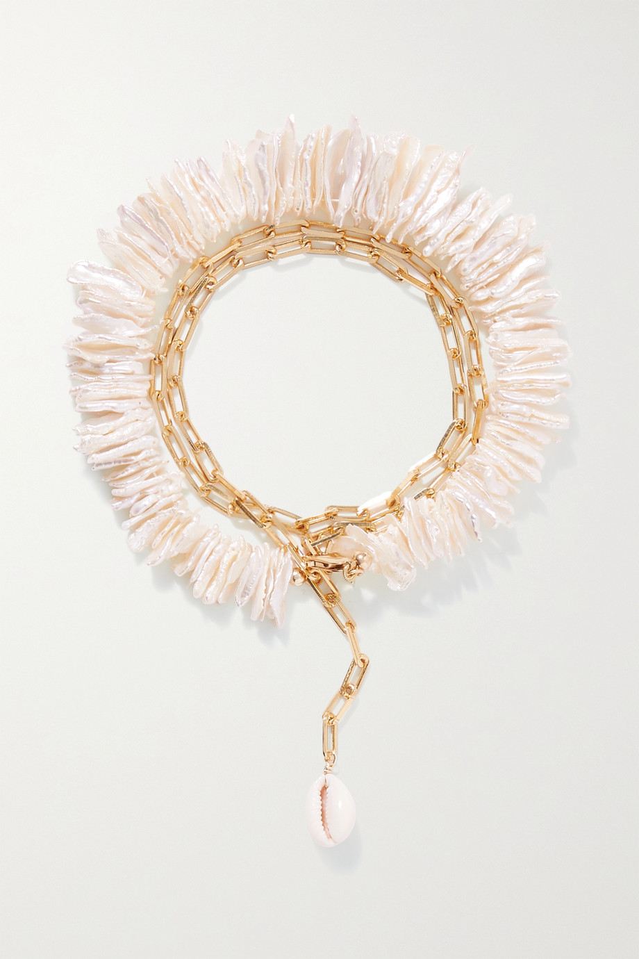 ÉLIOU Halia gold-plated, pearl and shell anklet