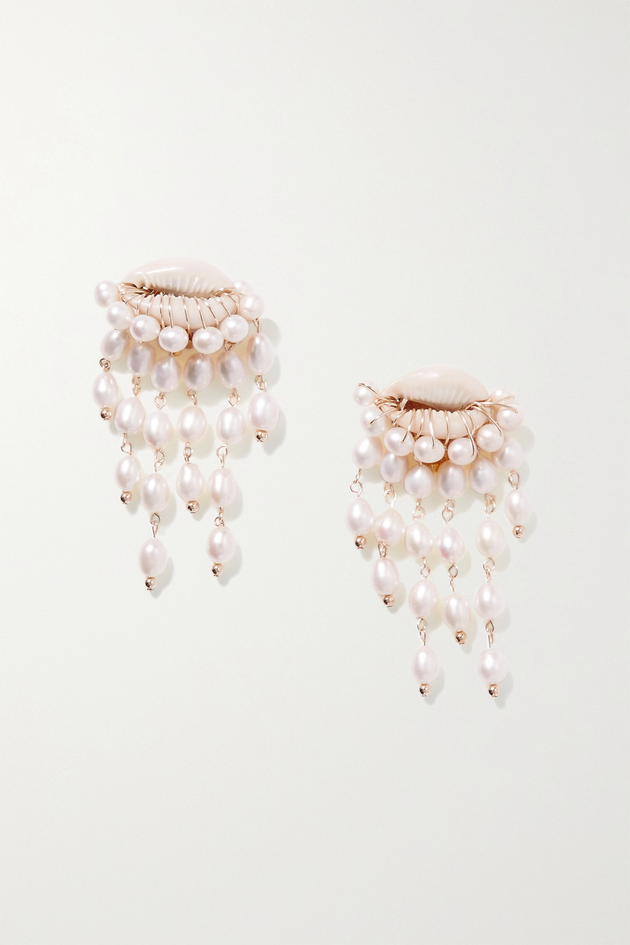 ÉLIOU Delphin gold-plated, shell and pearl clip earrings