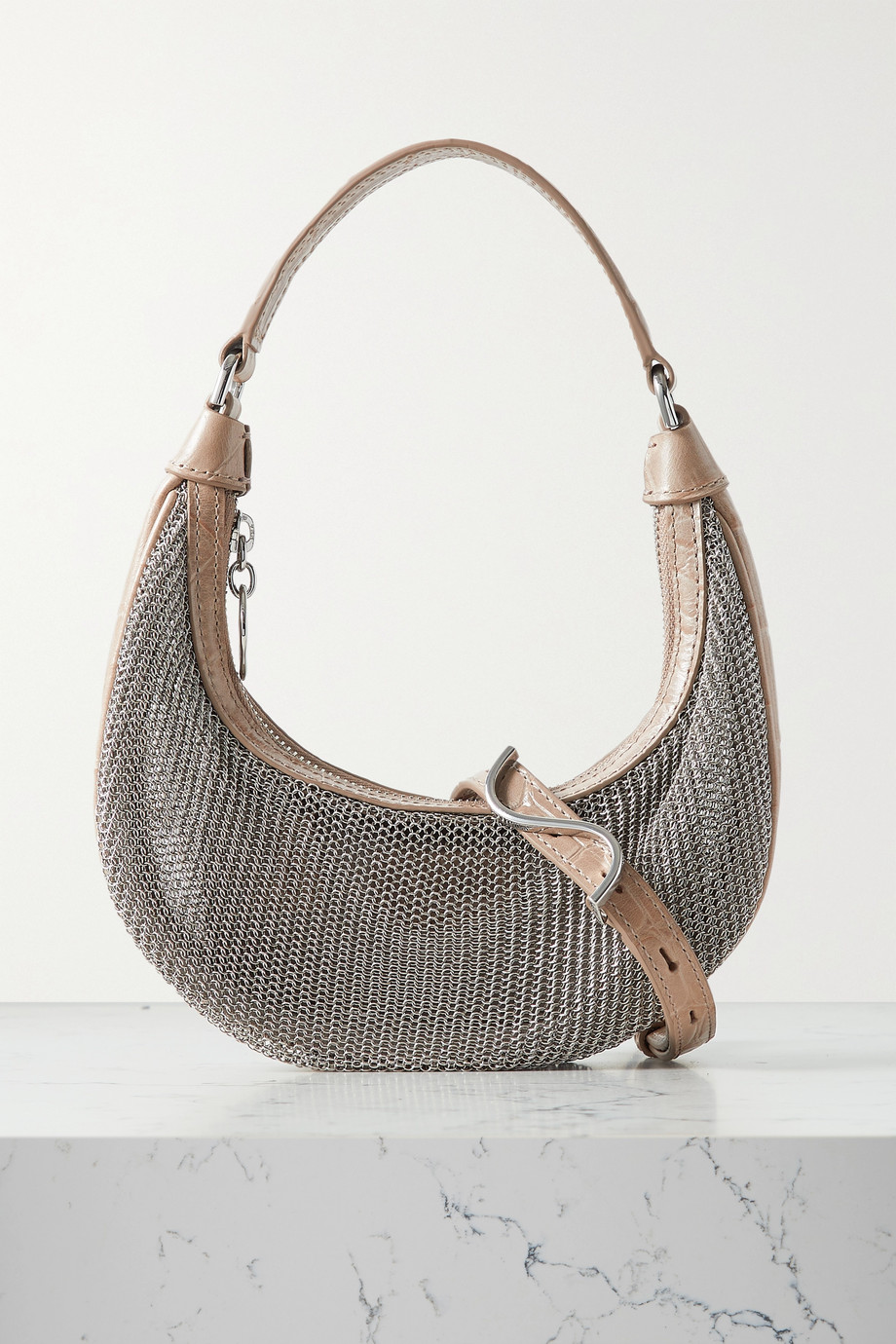 STAUD Sasha mini croc-effect leather-trimmed chainmail tote