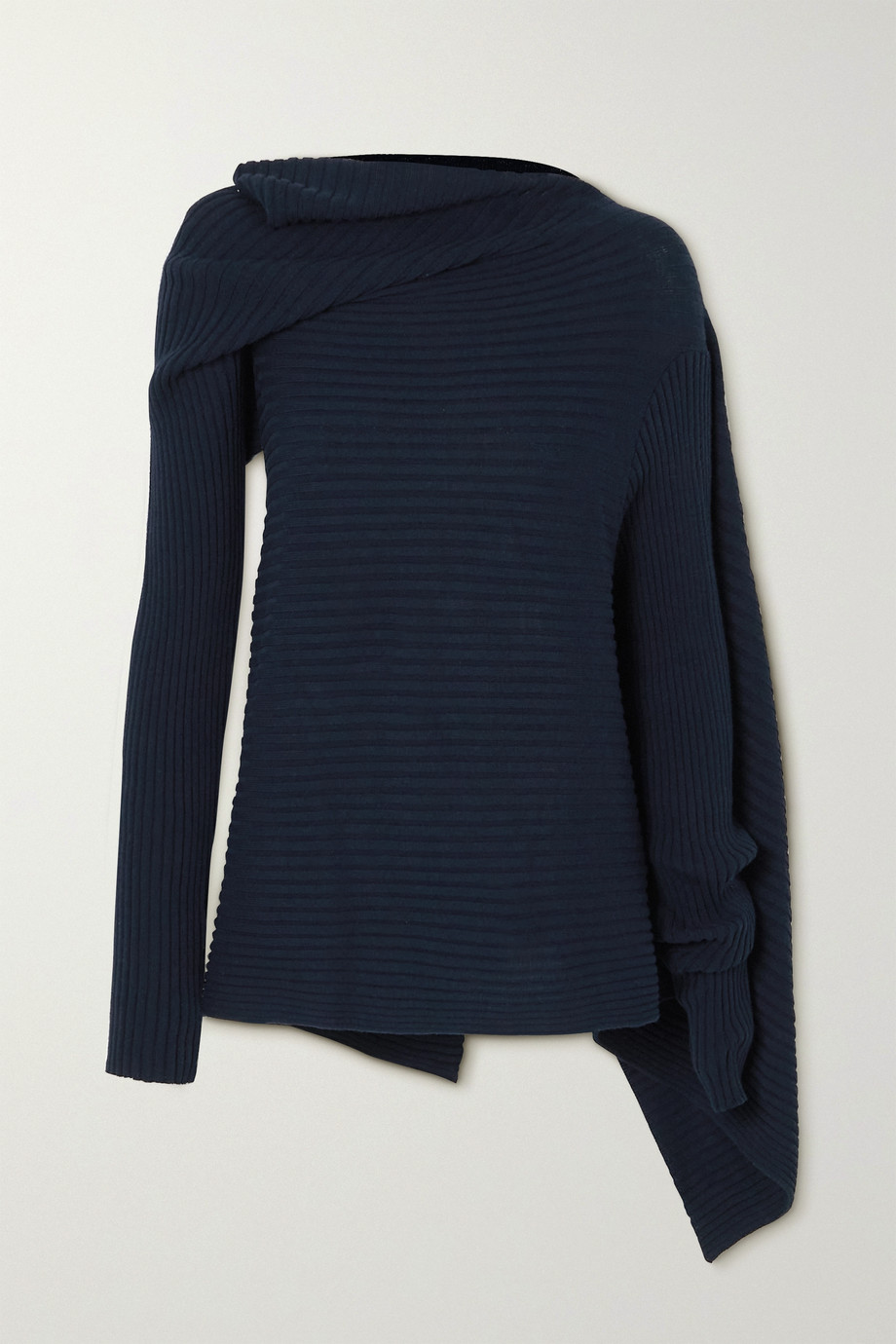 MARQUES' ALMEIDA Draped ribbed cotton-blend sweater