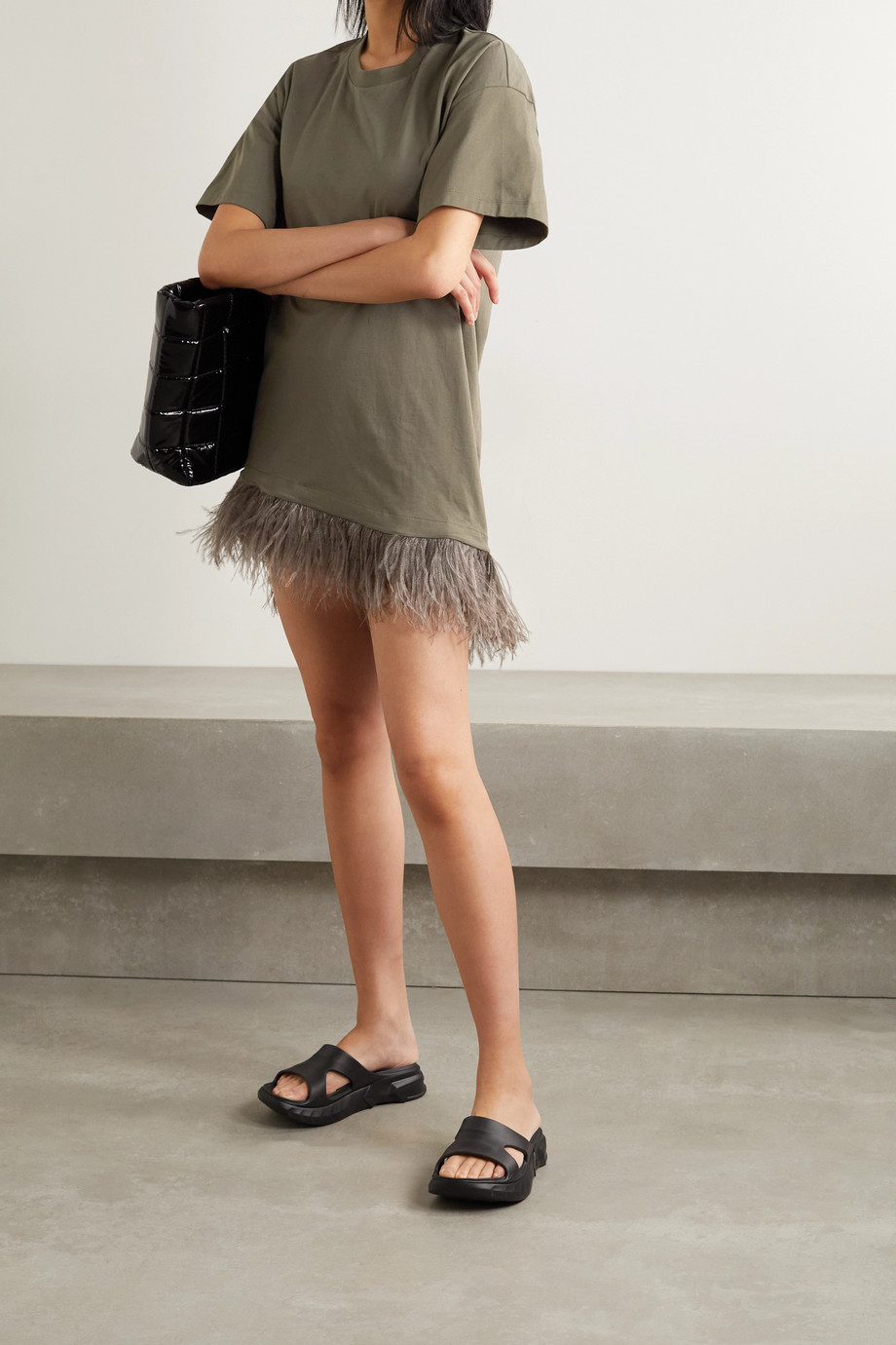 MARQUES' ALMEIDA Feather-trimmed organic cotton-jersey mini dress