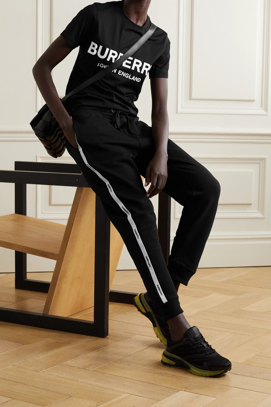 BURBERRY Jacquard-trimmed cotton-jersey track pants