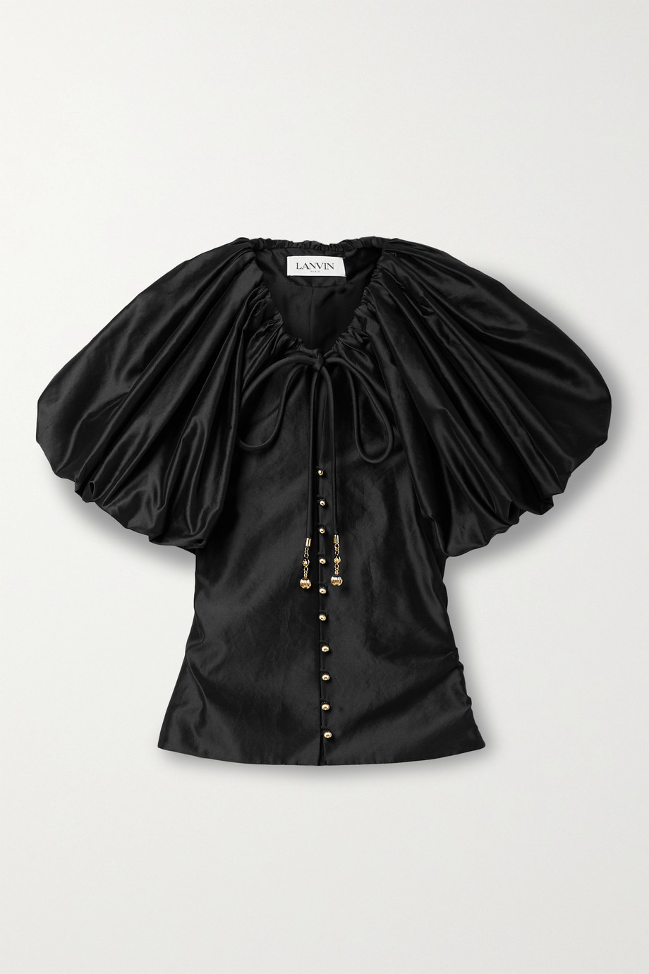 LANVIN Gathered taffeta blouse
