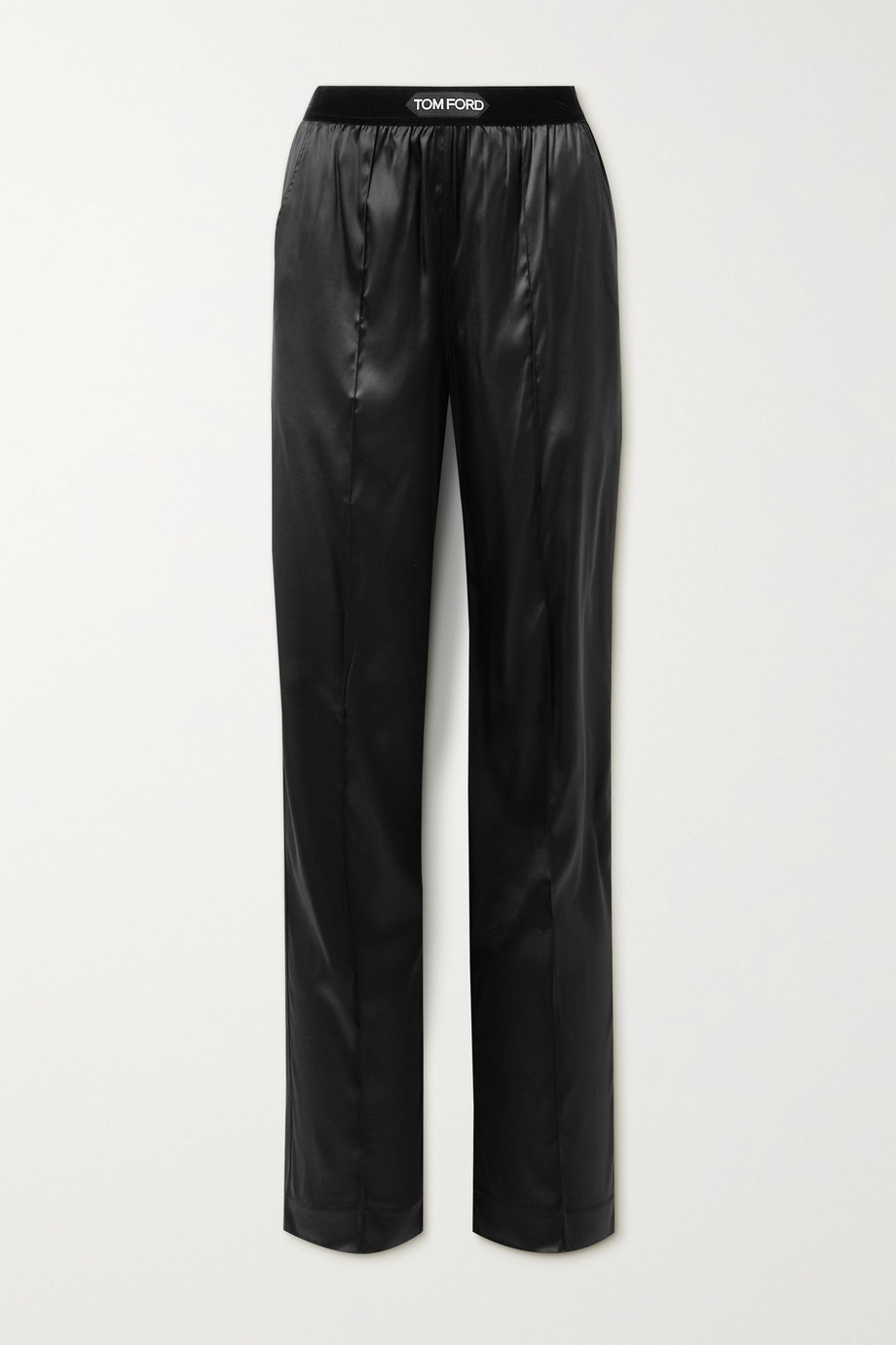 TOM FORD Velvet-trimmed stretch-silk satin pants