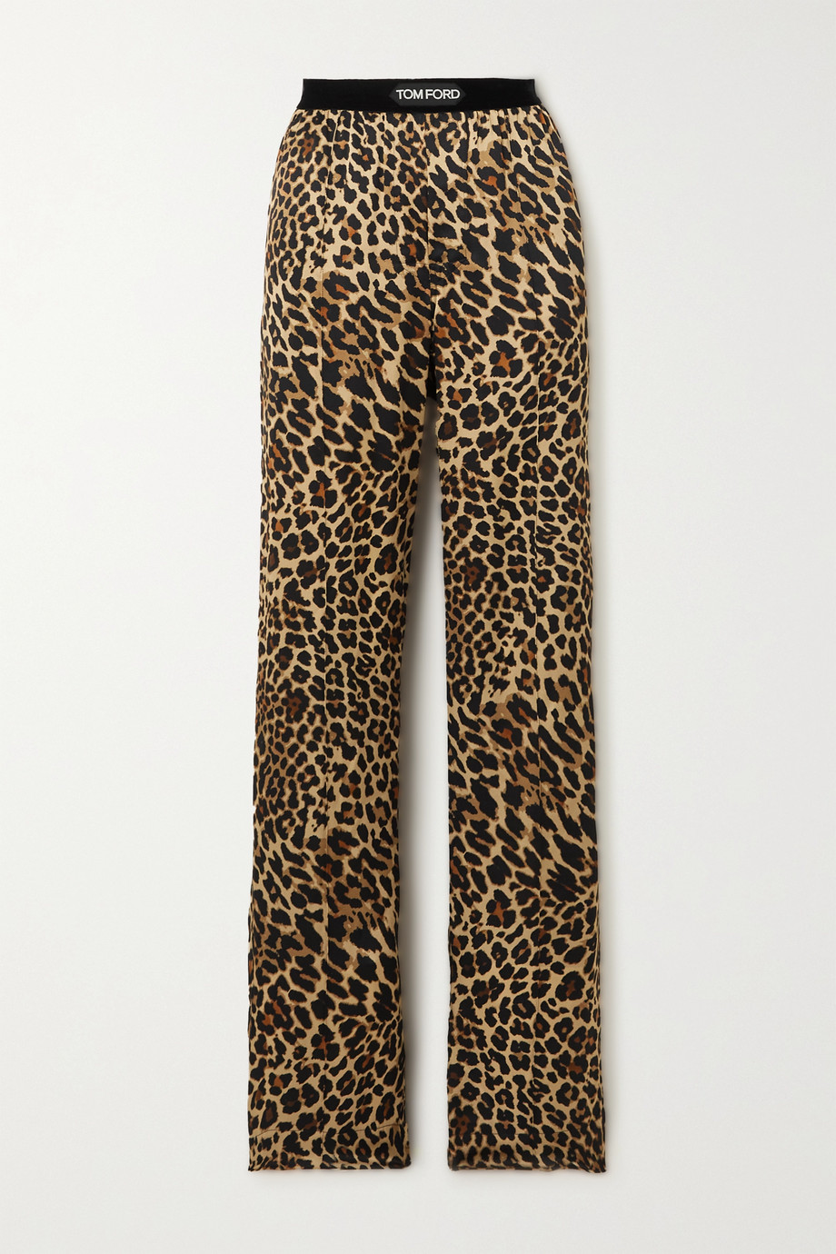 TOM FORD Velvet-trimmed leopard-print stretch-silk satin pants