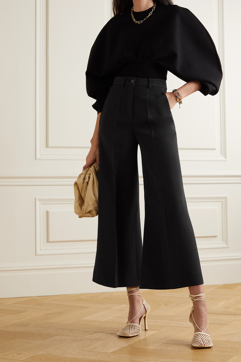 VALENTINO Cropped wool-blend wide-leg pants