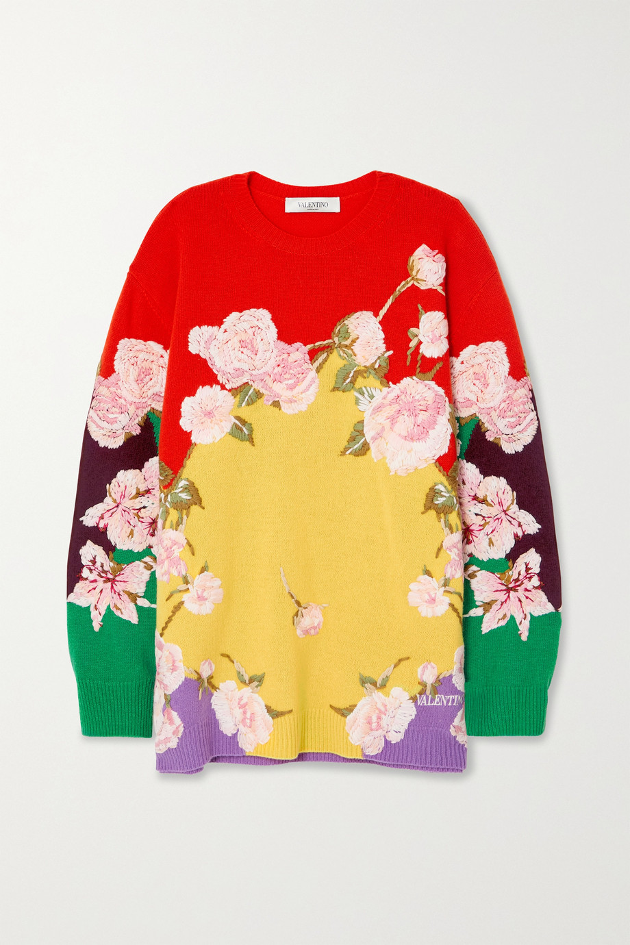 VALENTINO Embroidered wool and cashmere-blend sweater