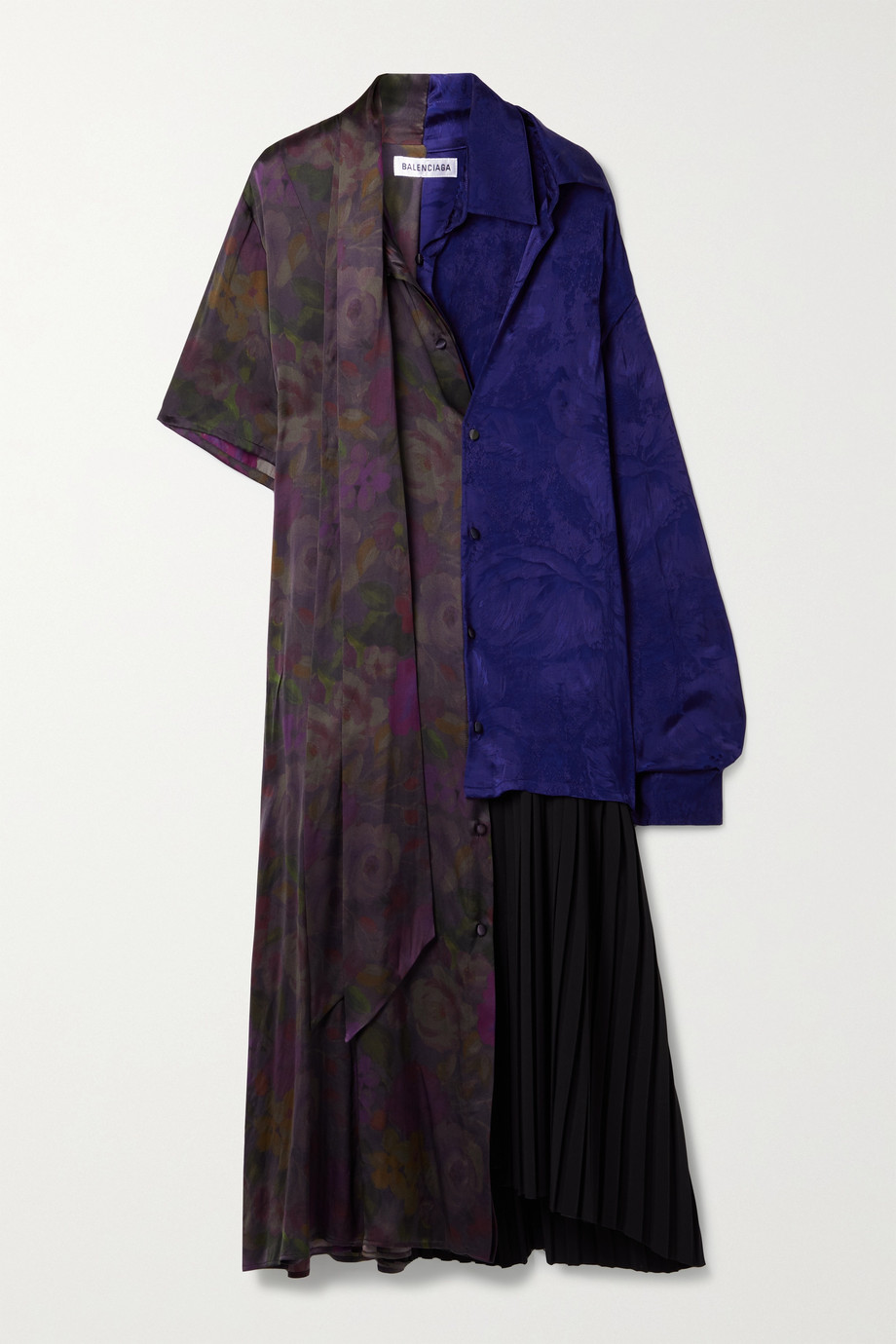 BALENCIAGA Oversized paneled floral-print satin and pleated twill midi dress
