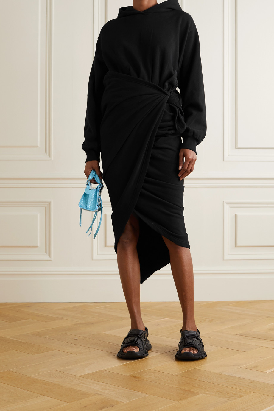 BALENCIAGA Hooded asymmetric cotton-jersey wrap dress