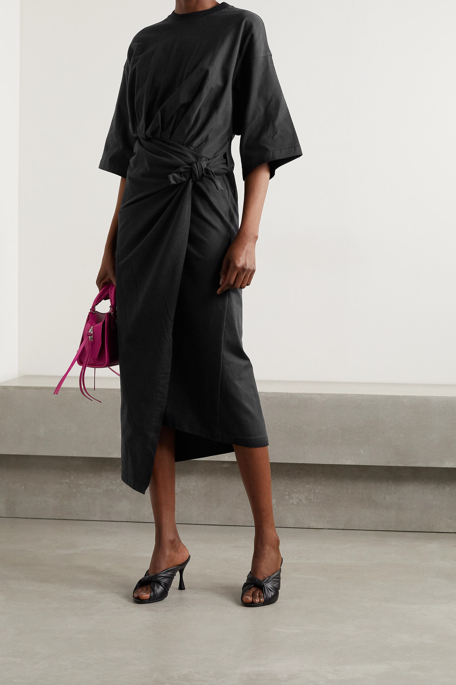BALENCIAGA Asymmetric cotton-jersey wrap dress