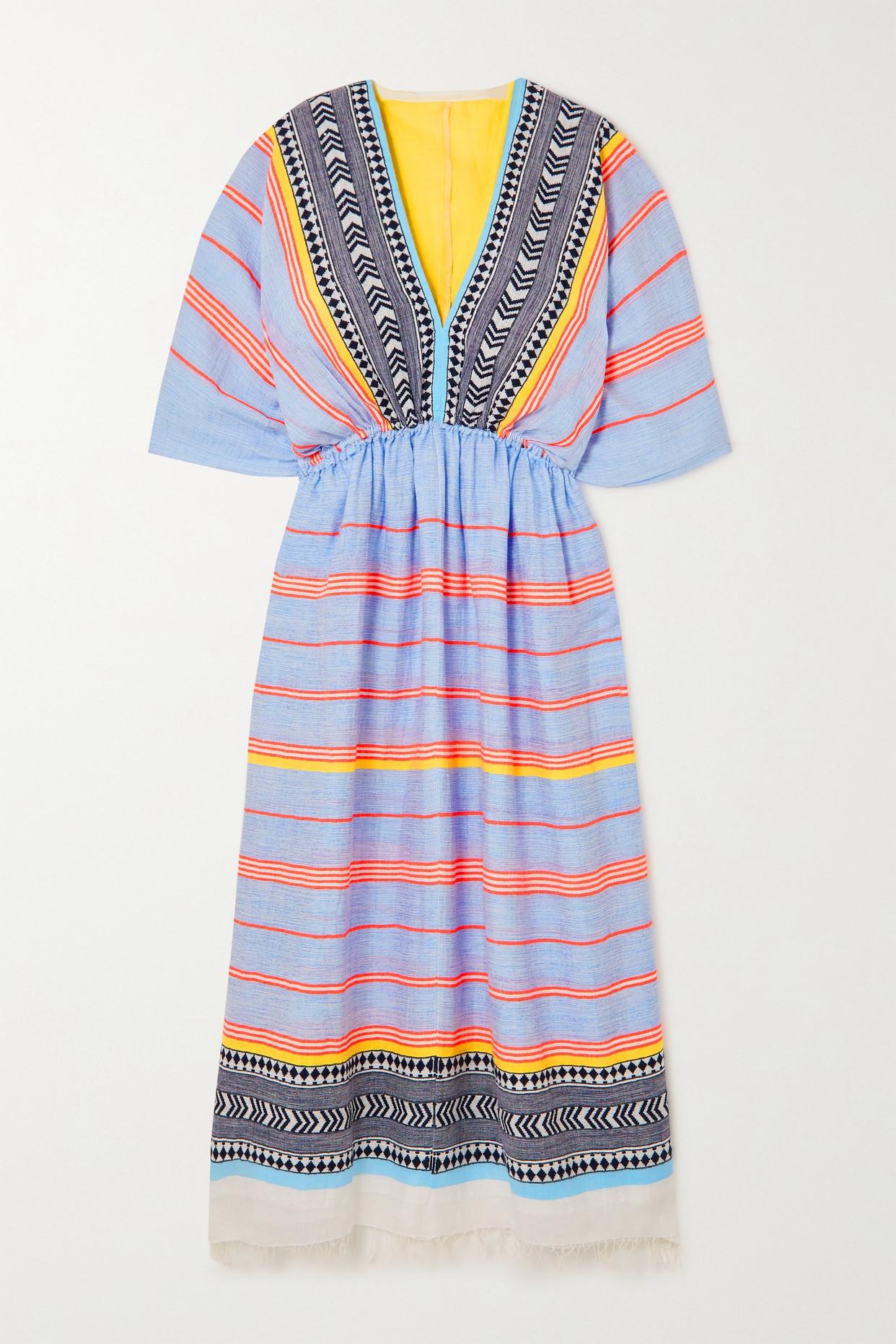 LEMLEM - 【net Sustain】neela 流苏条纹棉质混纺薄纱超长连衣裙 - 蓝色 - small