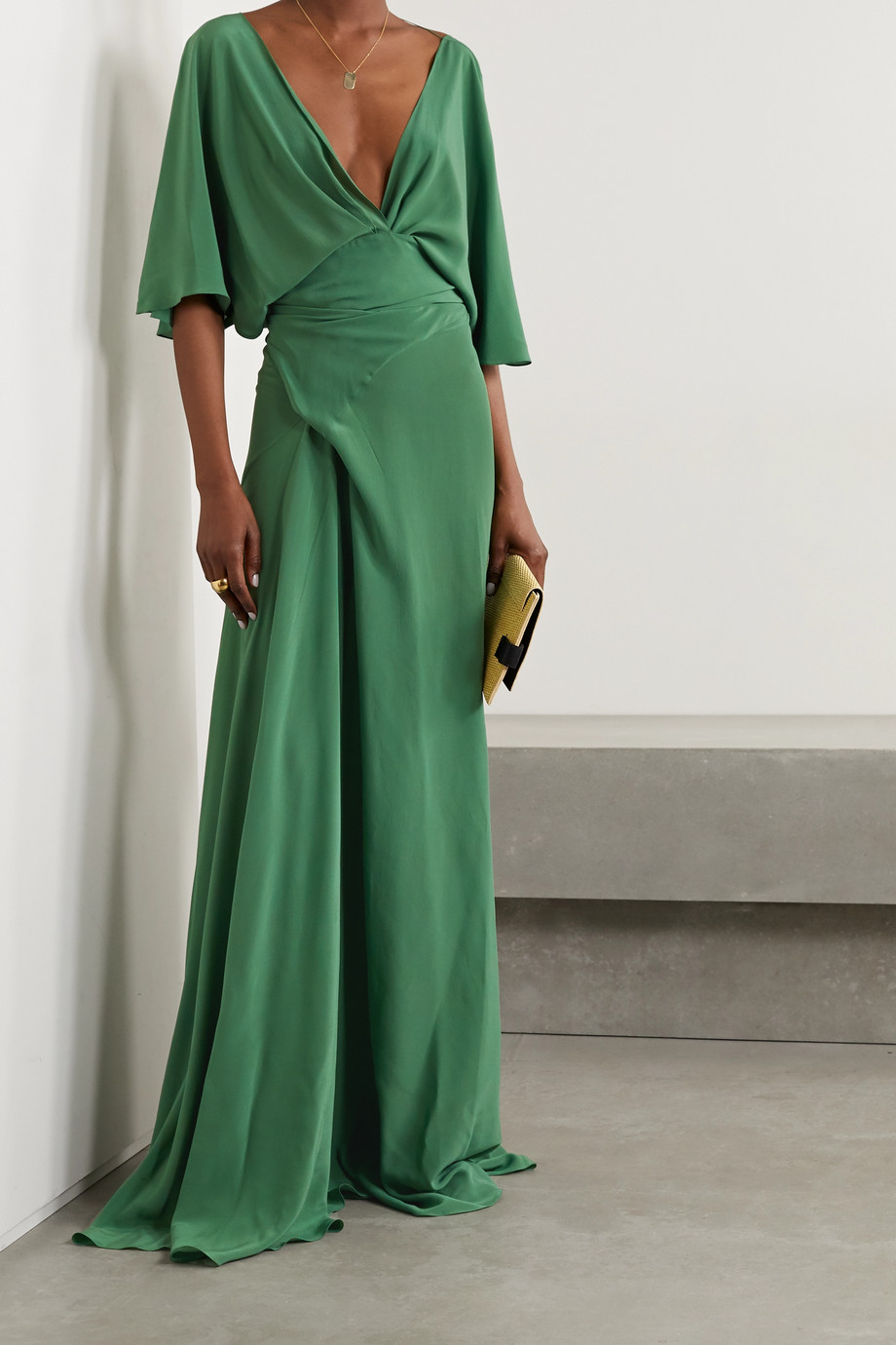 CORTANA + NET SUSTAIN Martina draped silk maxi dress