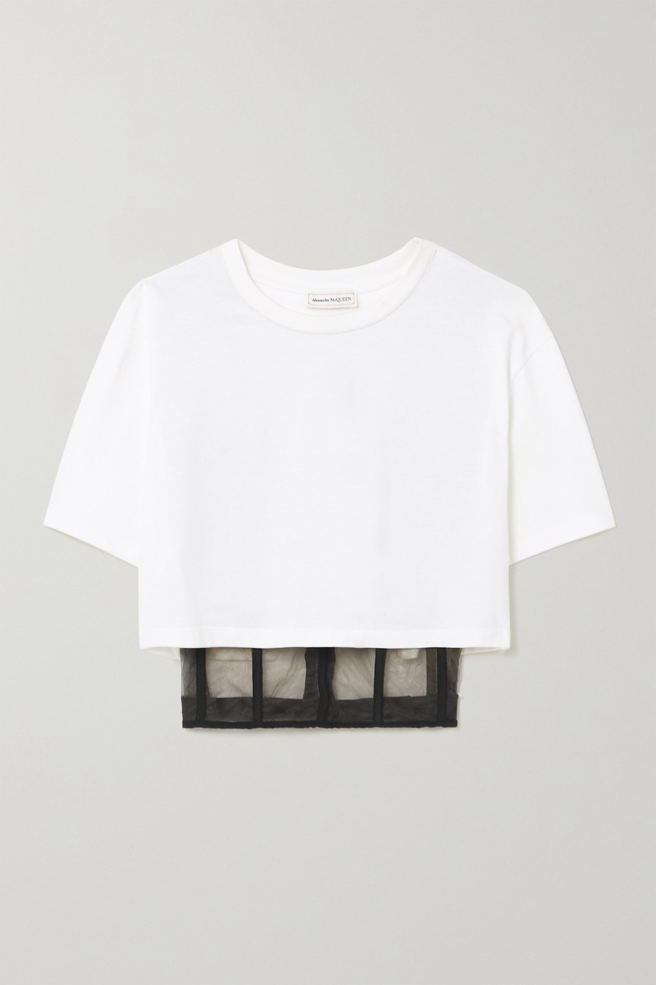 ALEXANDER MCQUEEN Cropped layered cotton-jersey and tulle T-shirt
