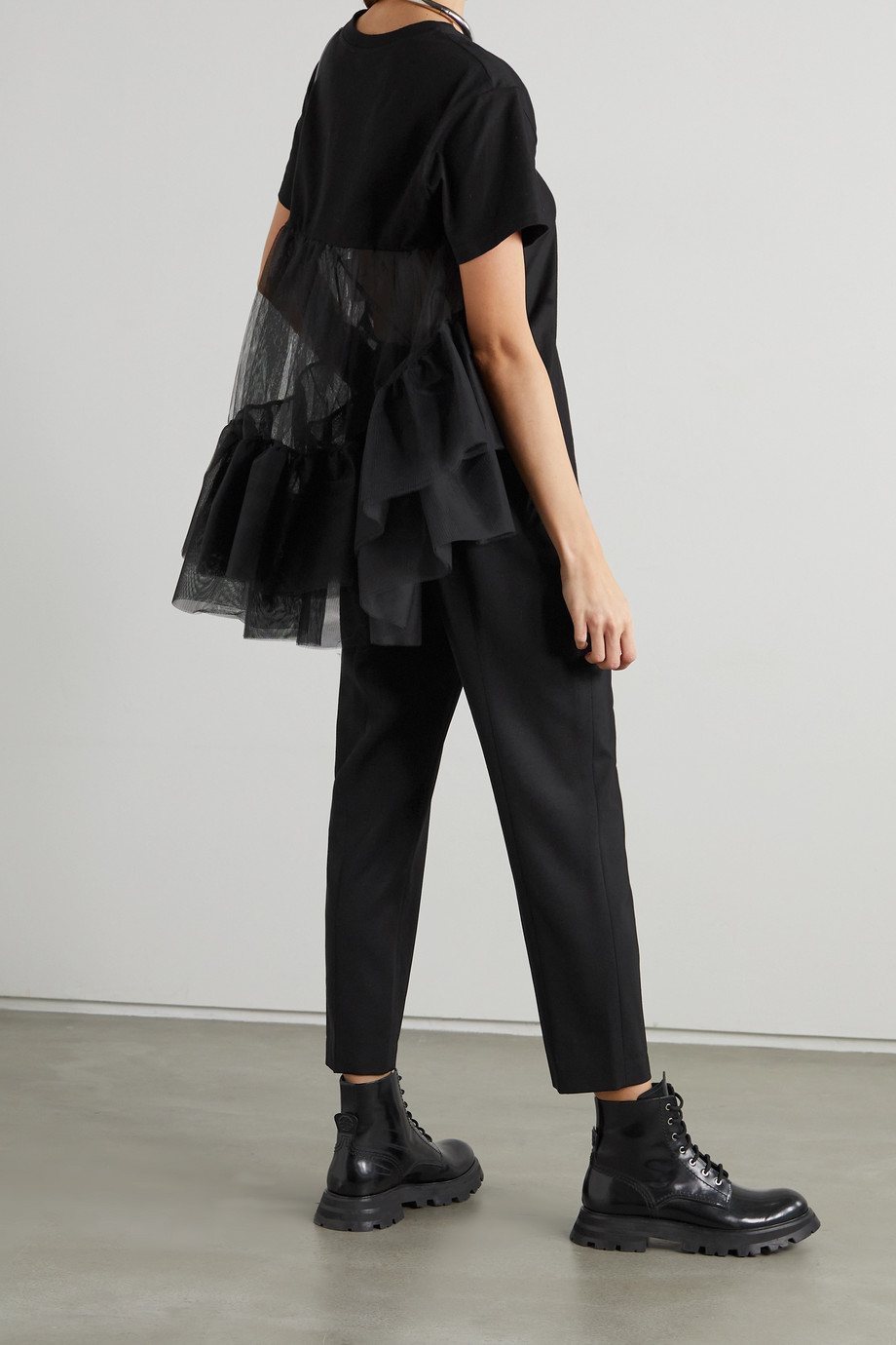 ALEXANDER MCQUEEN Cotton-jersey and ruffled tulle T-shirt