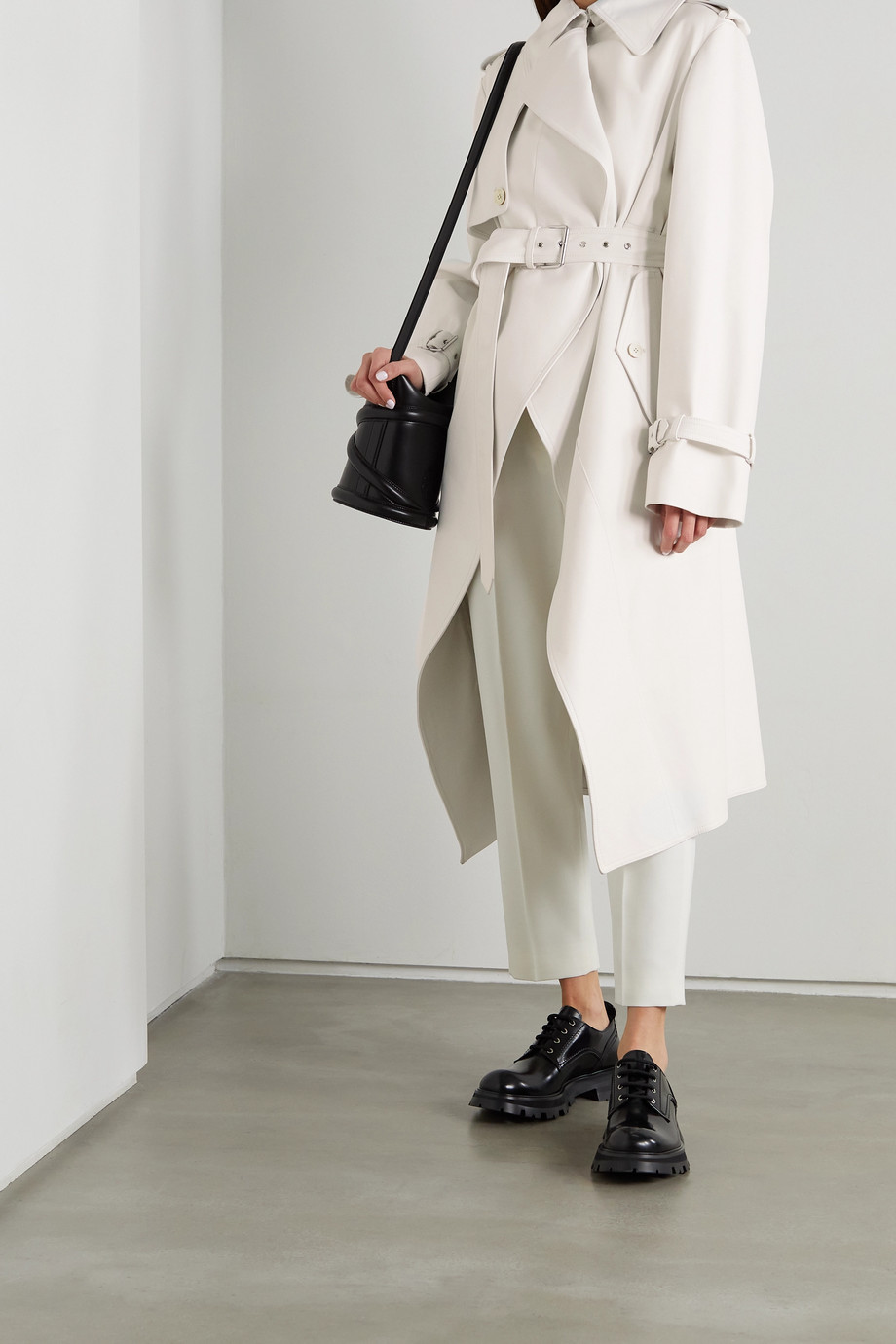 ALEXANDER MCQUEEN Asymmetric leather trench coat