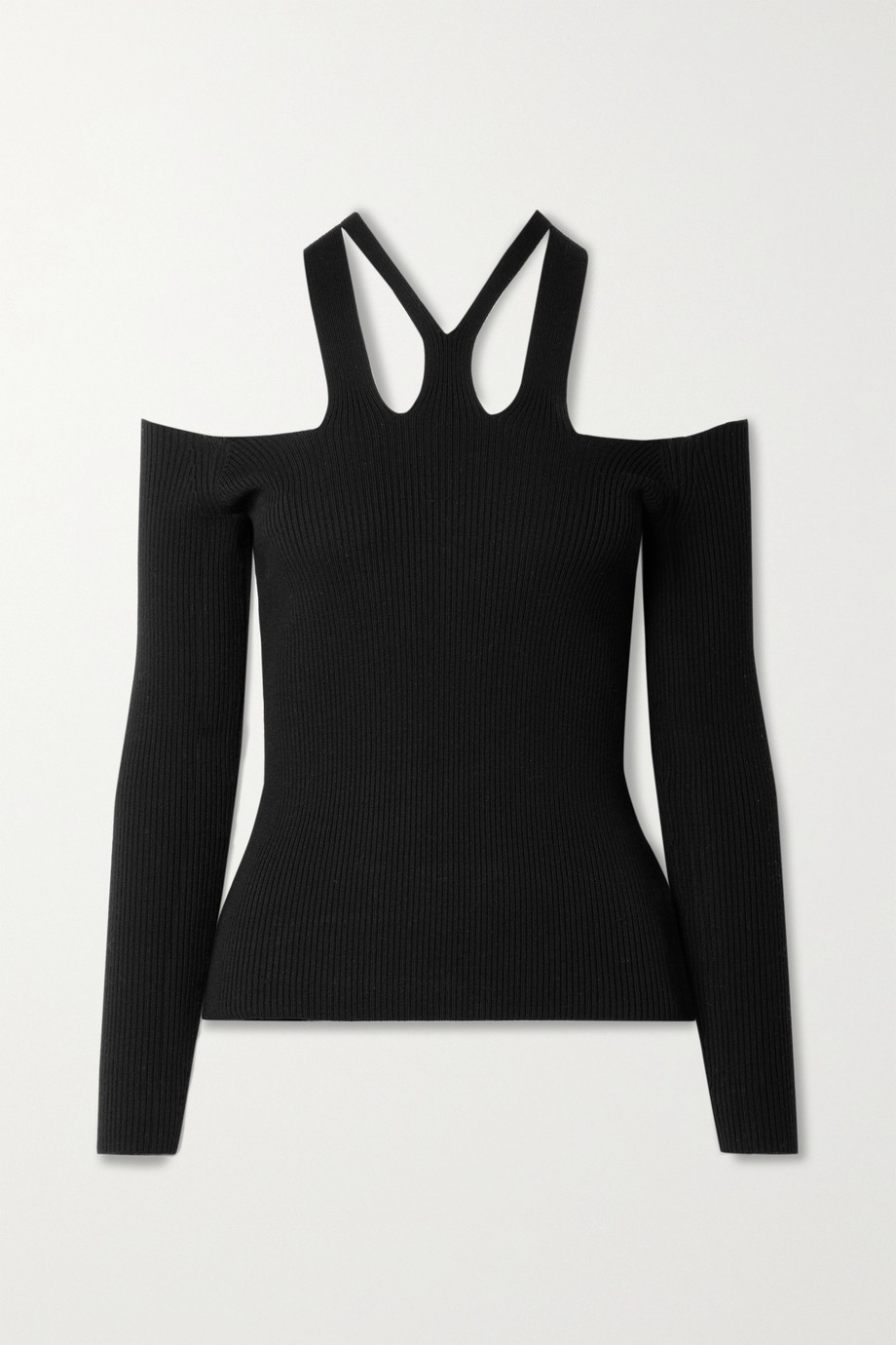 DION LEE Fork cutout ribbed wool-blend top
