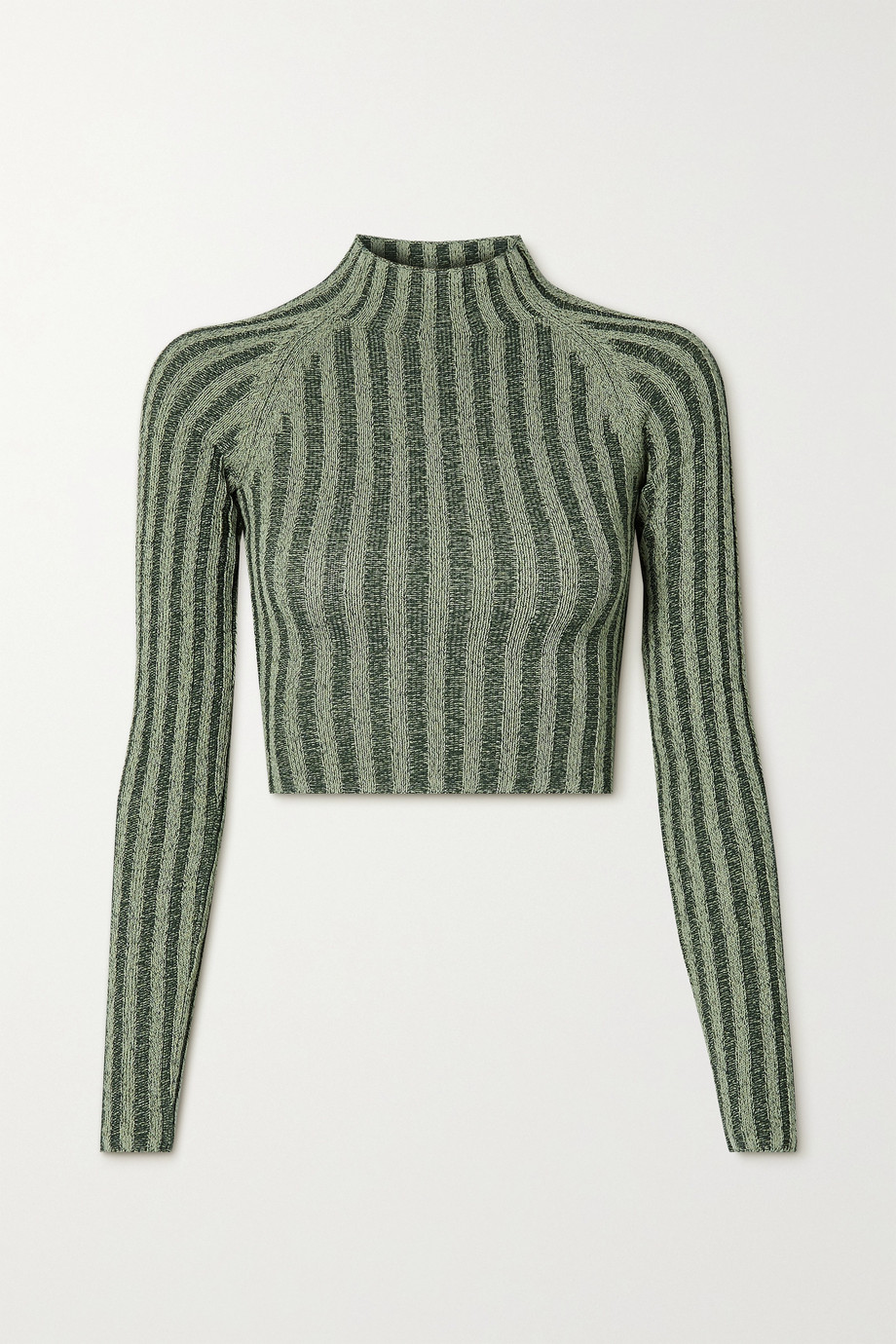 DION LEE Cropped cutout ribbed cotton-blend sweater
