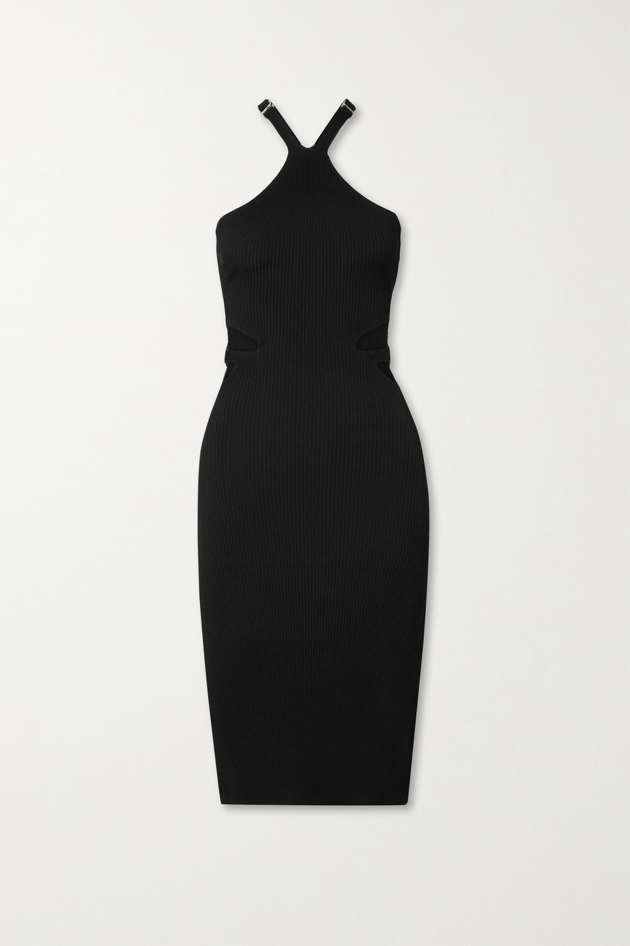 DION LEE Cutout ribbed-knit dress