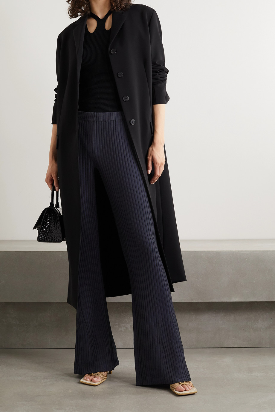 DION LEE Ribbed-knit flared pants