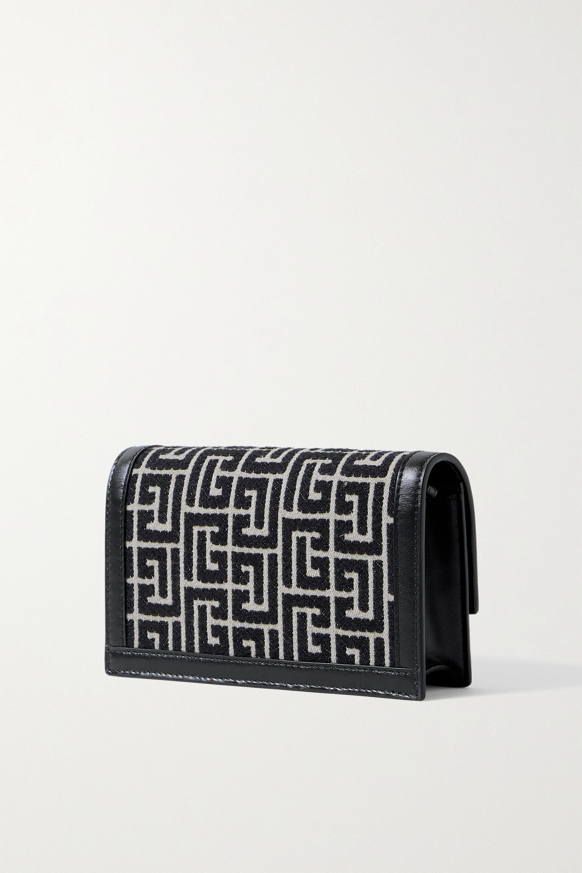 BALMAIN 1945 mini leather-trimmed jacquard shoulder bag
