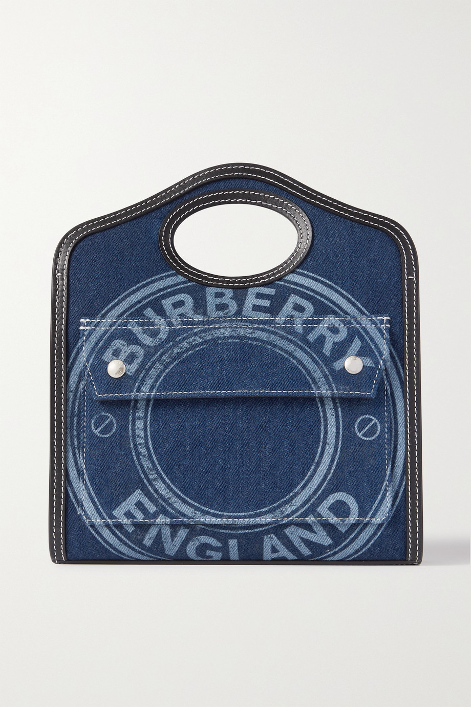 버버리 Burberry Pocket mini leather-trimmed printed denim tote,Blue