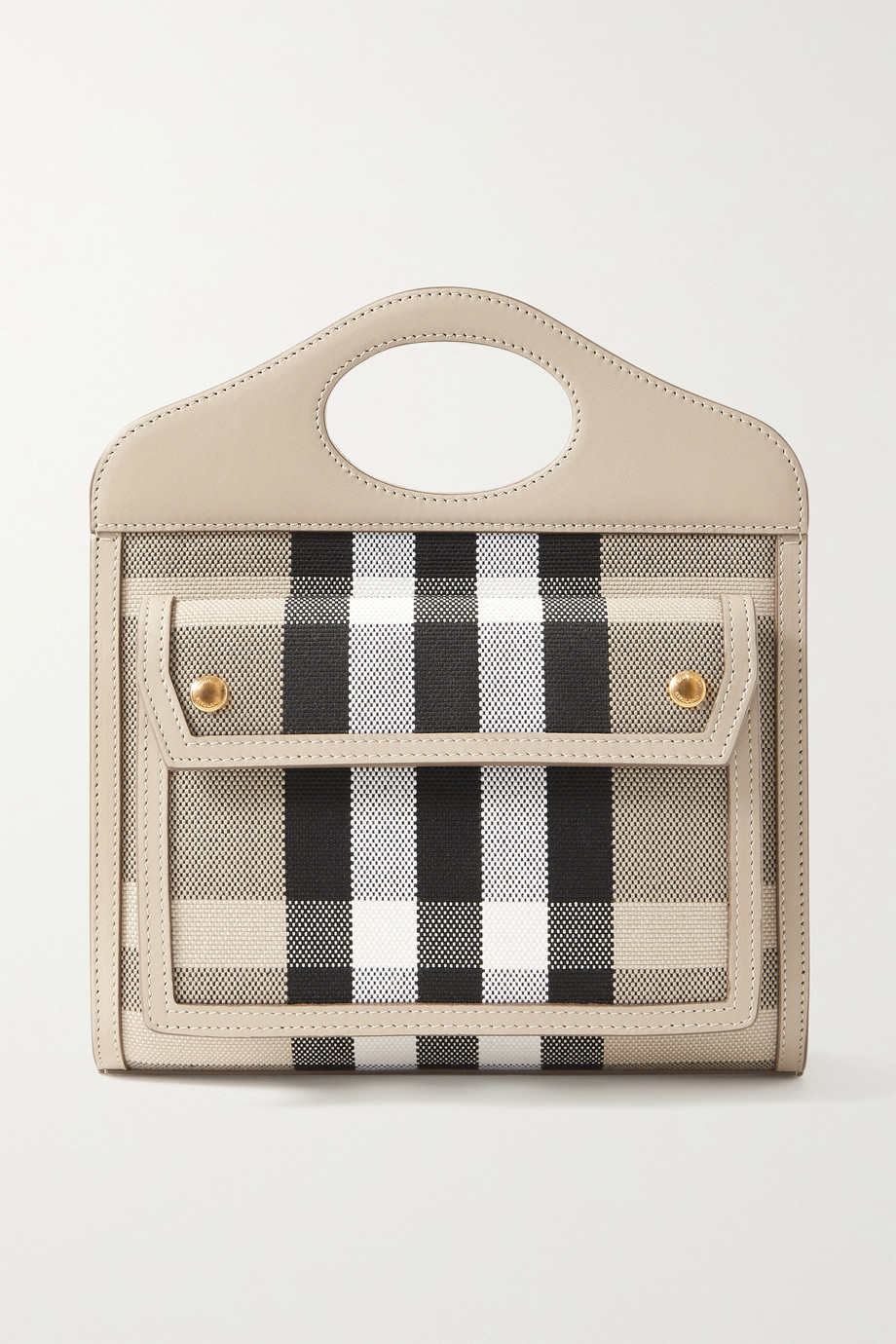 BURBERRY Leather-trimmed checked canvas tote