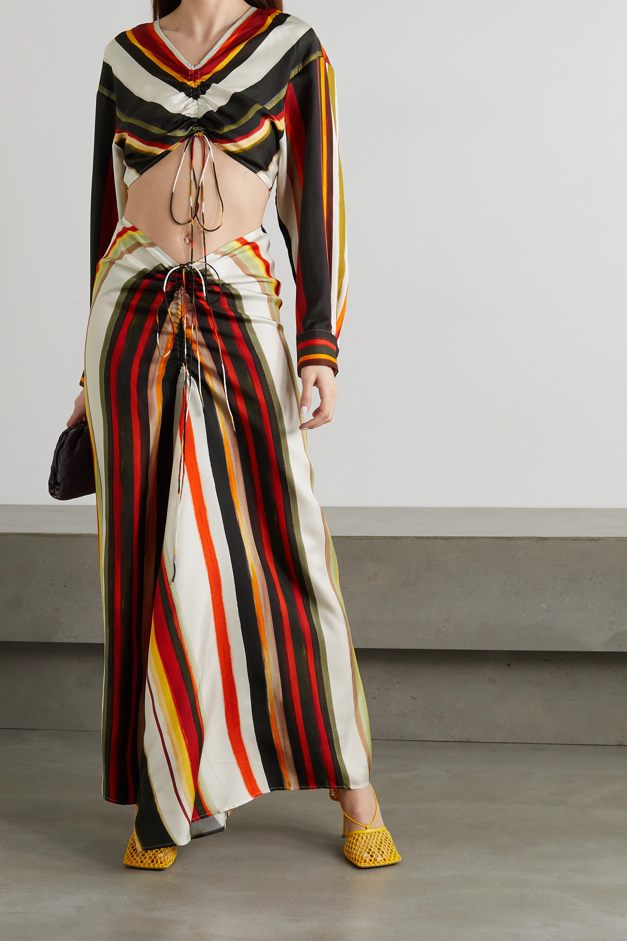 CHRISTOPHER ESBER Cutout ruched striped silk-twill maxi dress